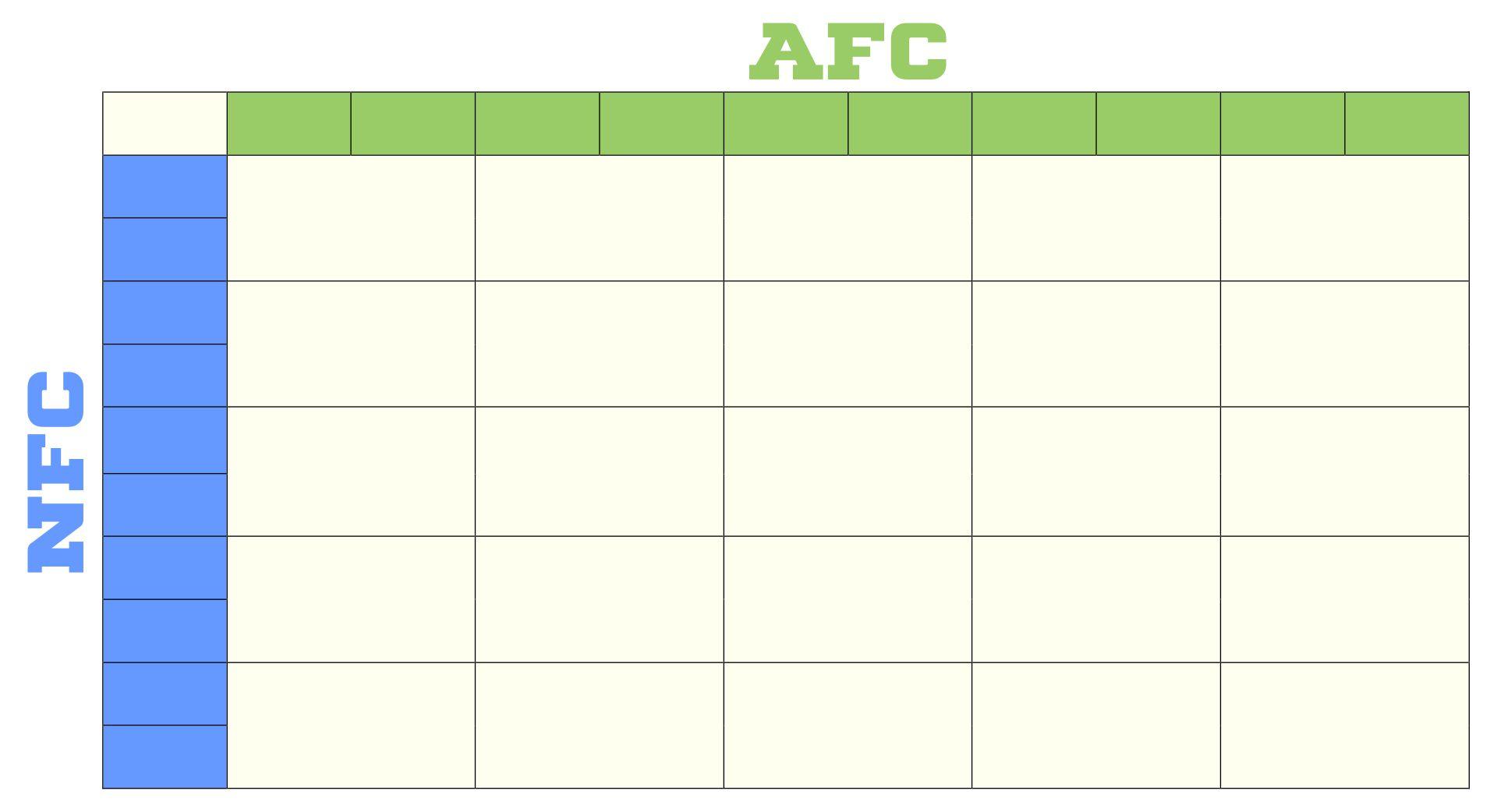 Printable 25 Square Football Pool Template