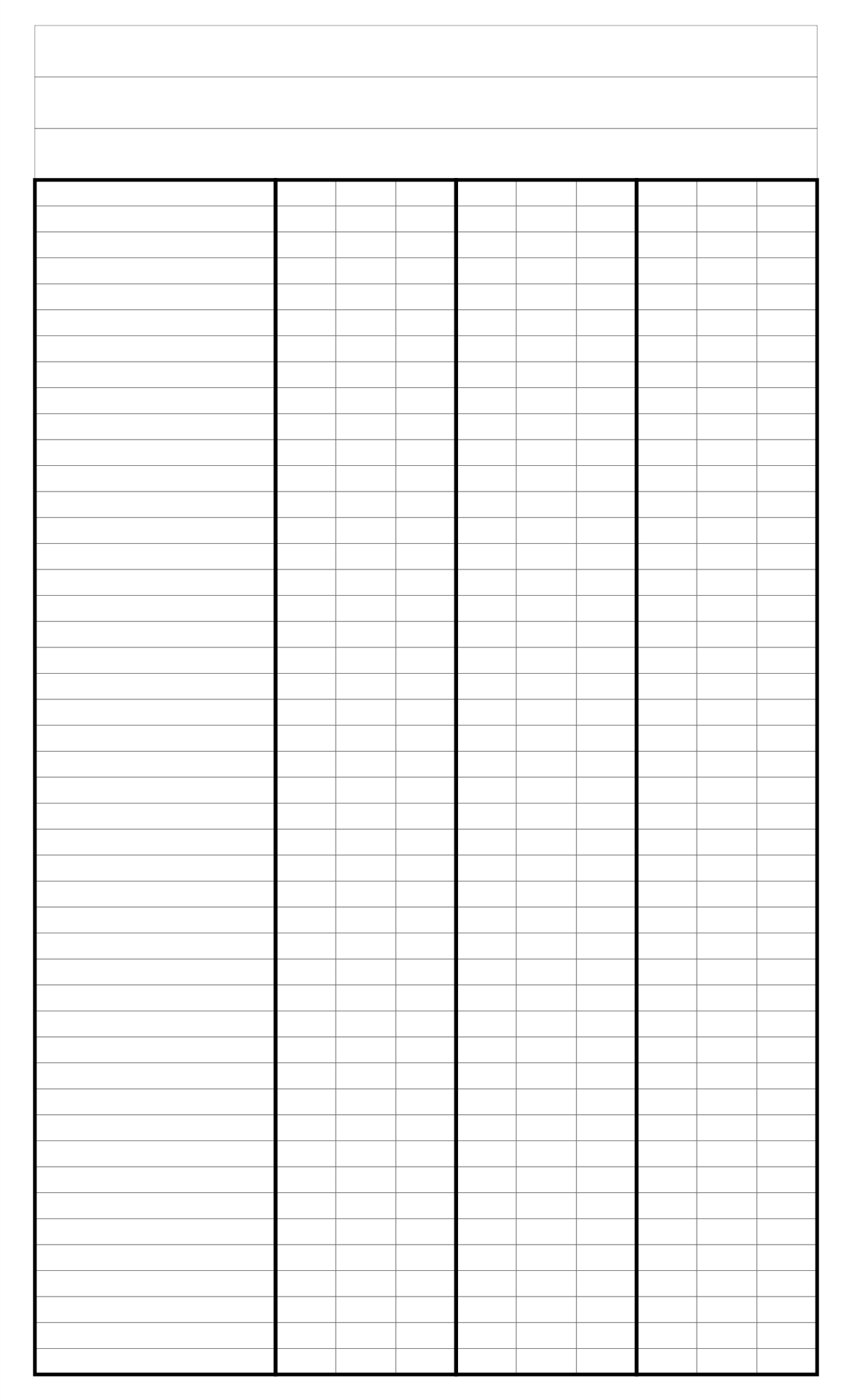 Printable 4 Column Chart With Lines