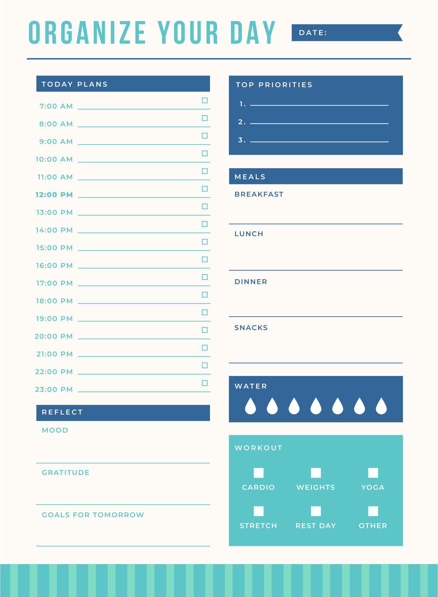 Printable Best Hourly Planner