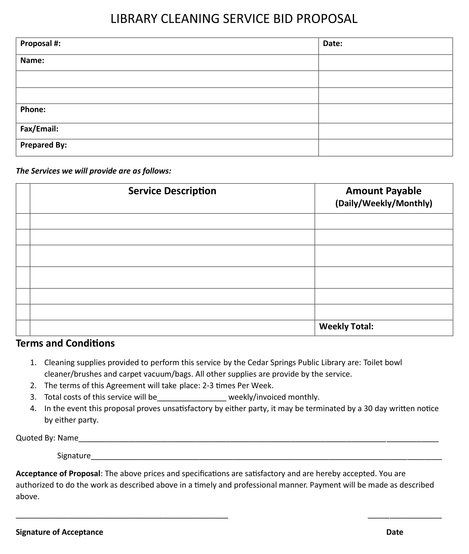 Printable Bid Proposal Template For Cleaning Services