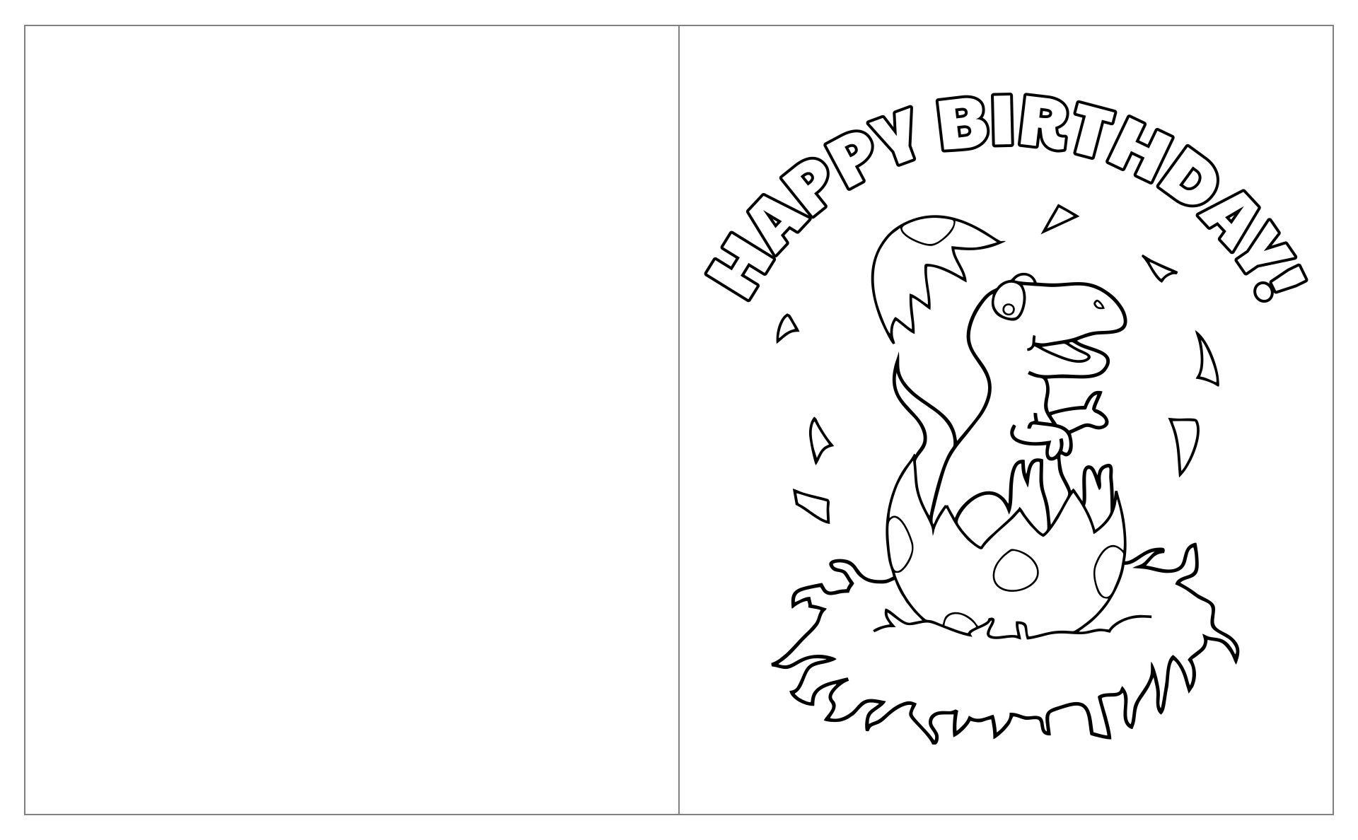 Printable Birthday Card For Child To Color