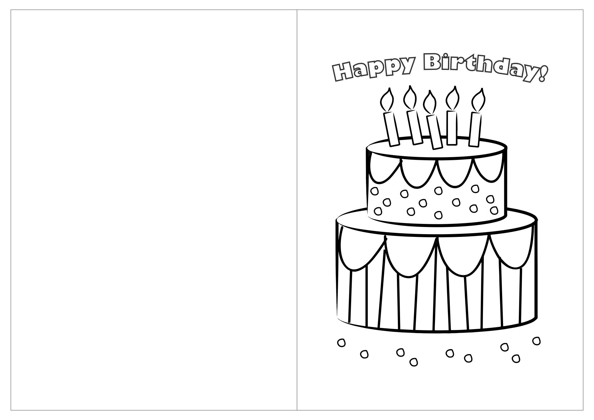 Printable Birthday Cards Coloring Pages