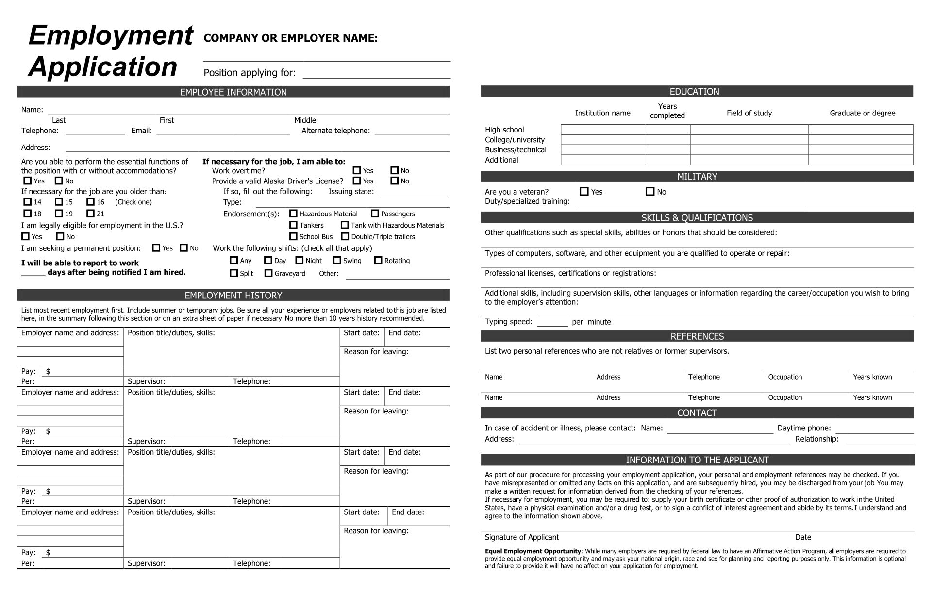 Printable Blank Application Form For Employment