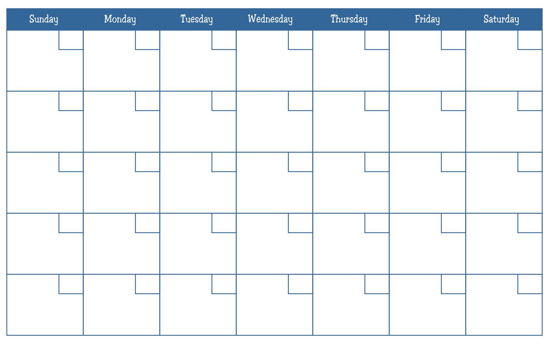 Printable Blank Month Calendar To Print