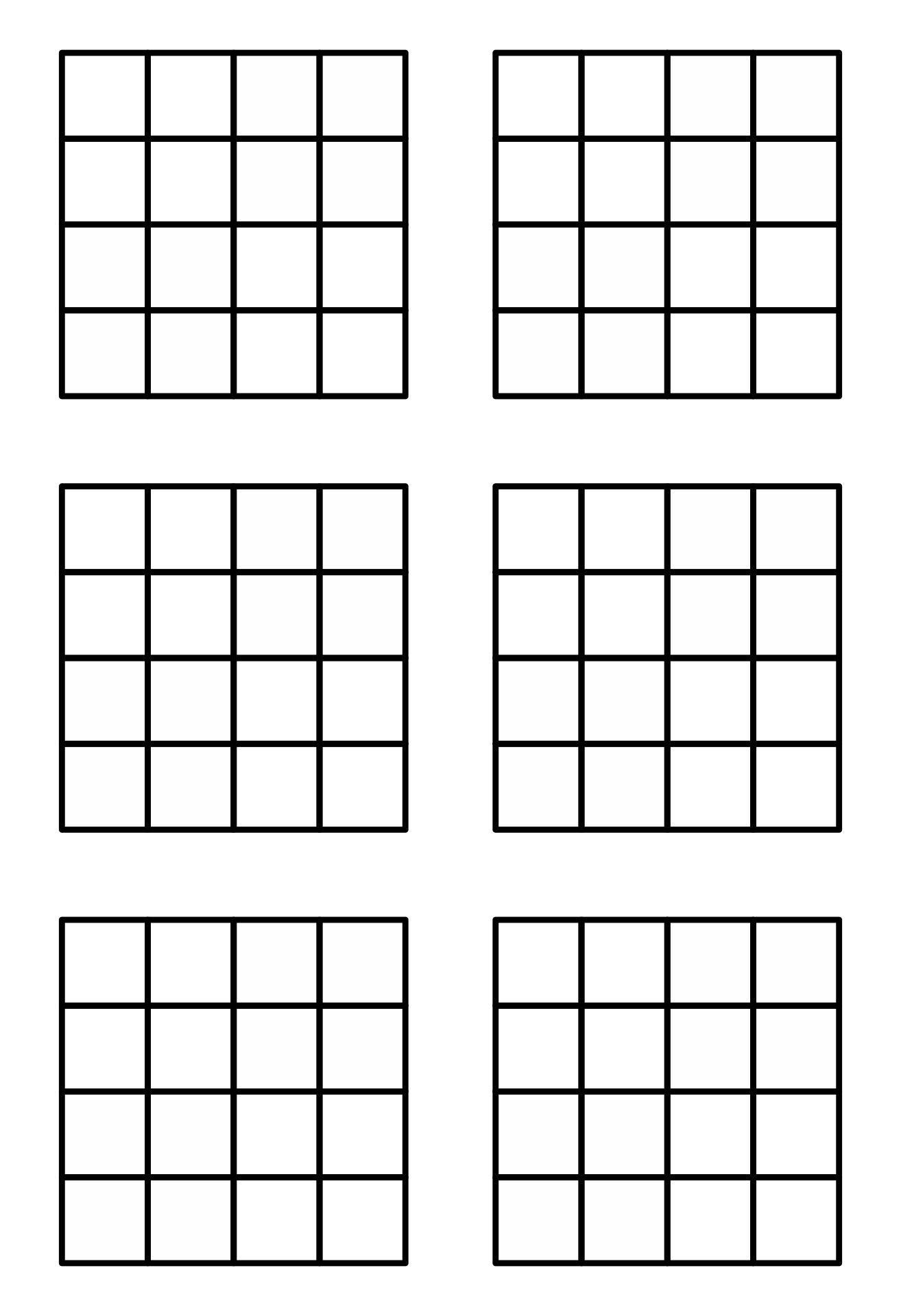 Printable Blank Sudoku Grids 6 Per Page