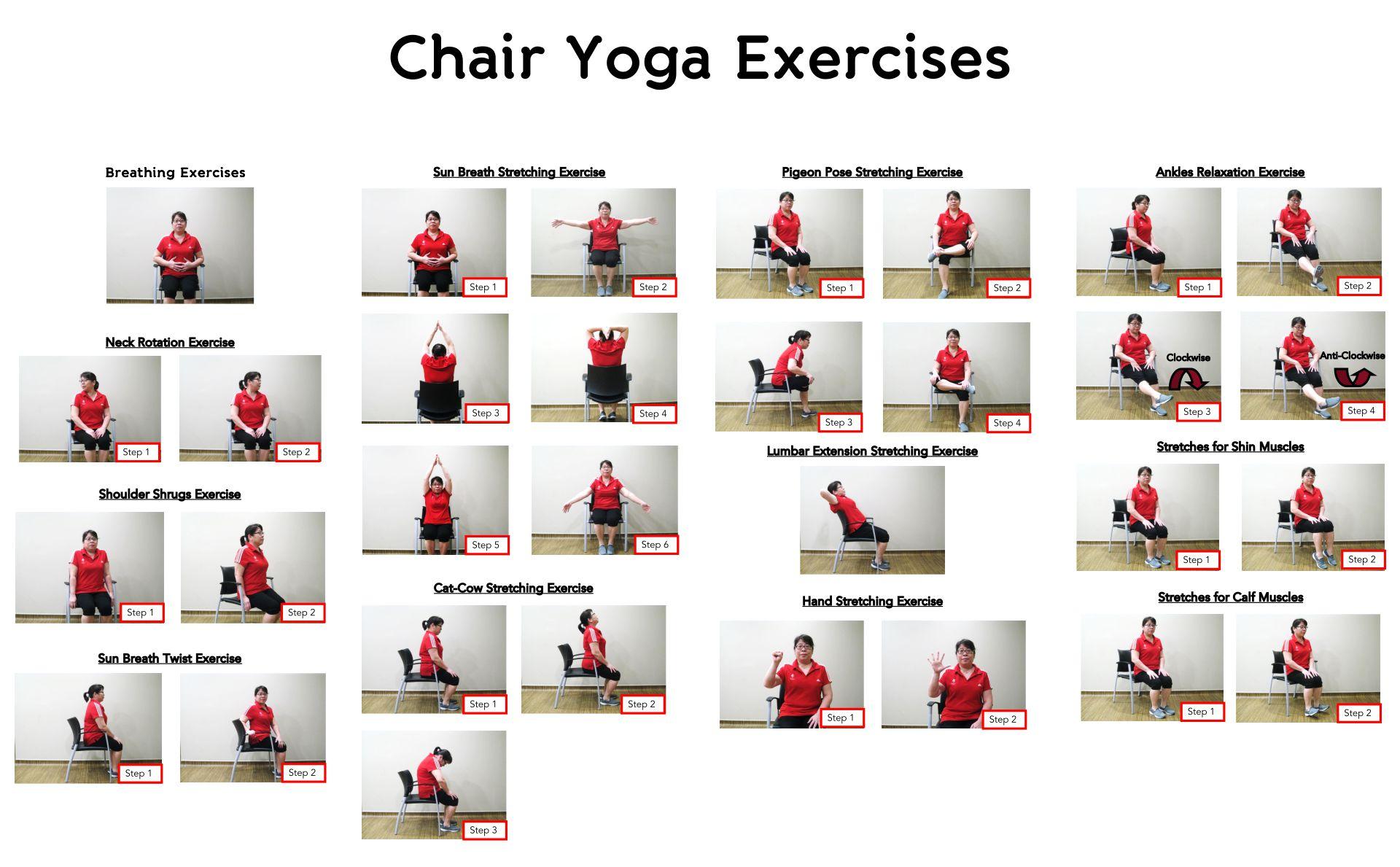 Printable Chair Yoga Poses For Seniors