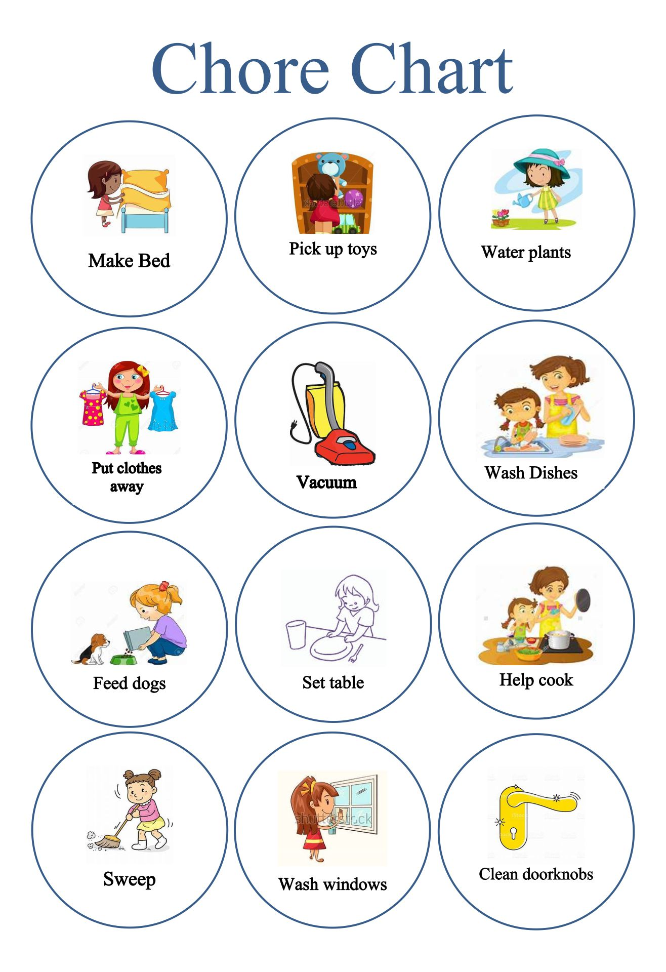 Printable Chore Chart Images Clip Art