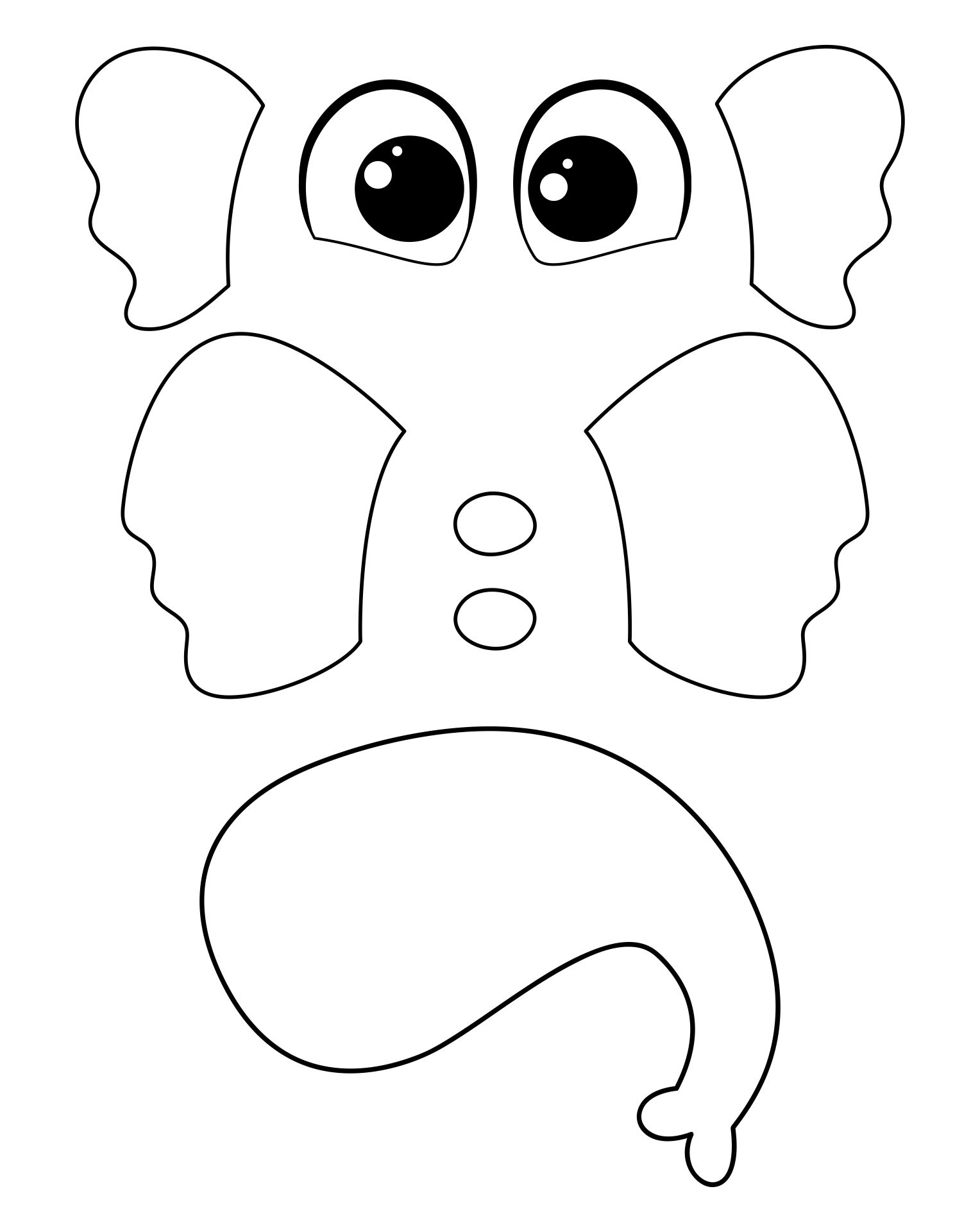 Printable Elephant Cut Outs Template