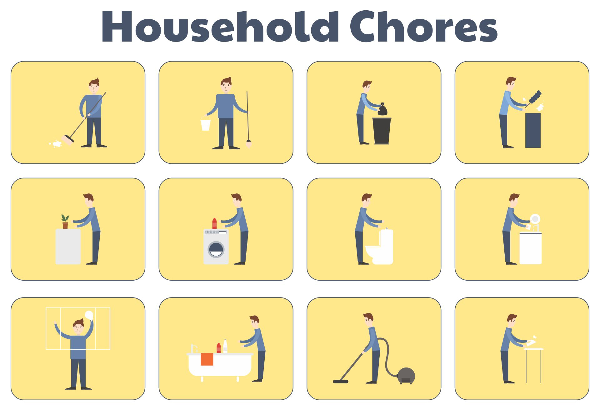 Printable Household Chores Clipart