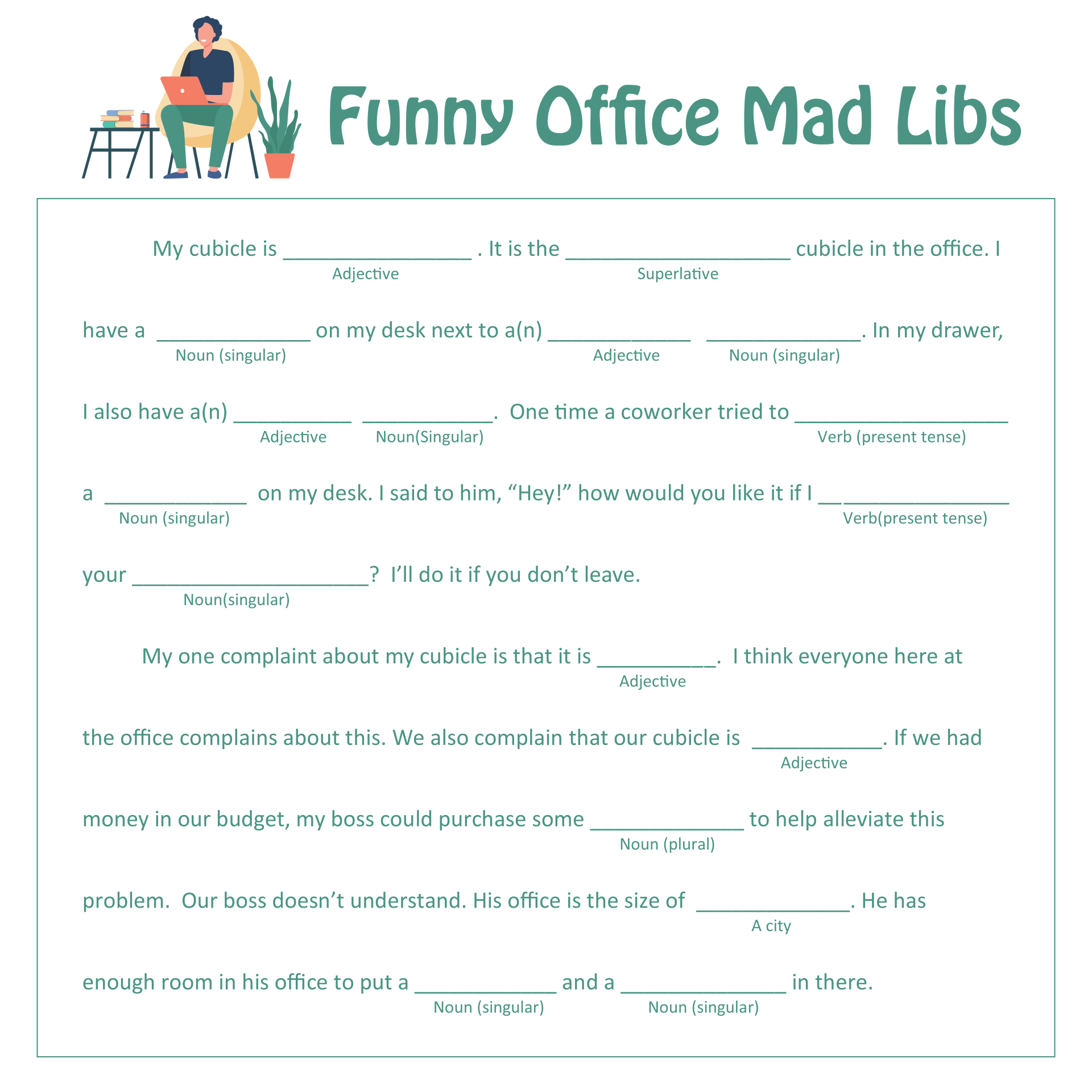 Printable Mad Libs For Office Meeting