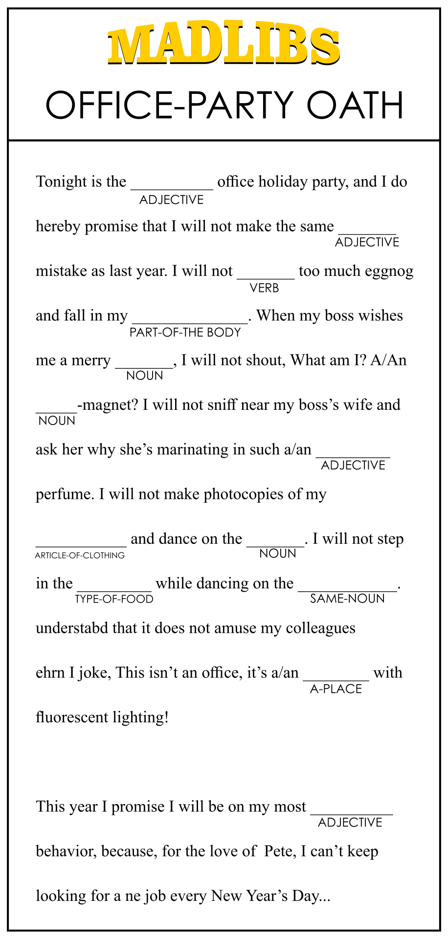 Printable Mad Libs For Office Party