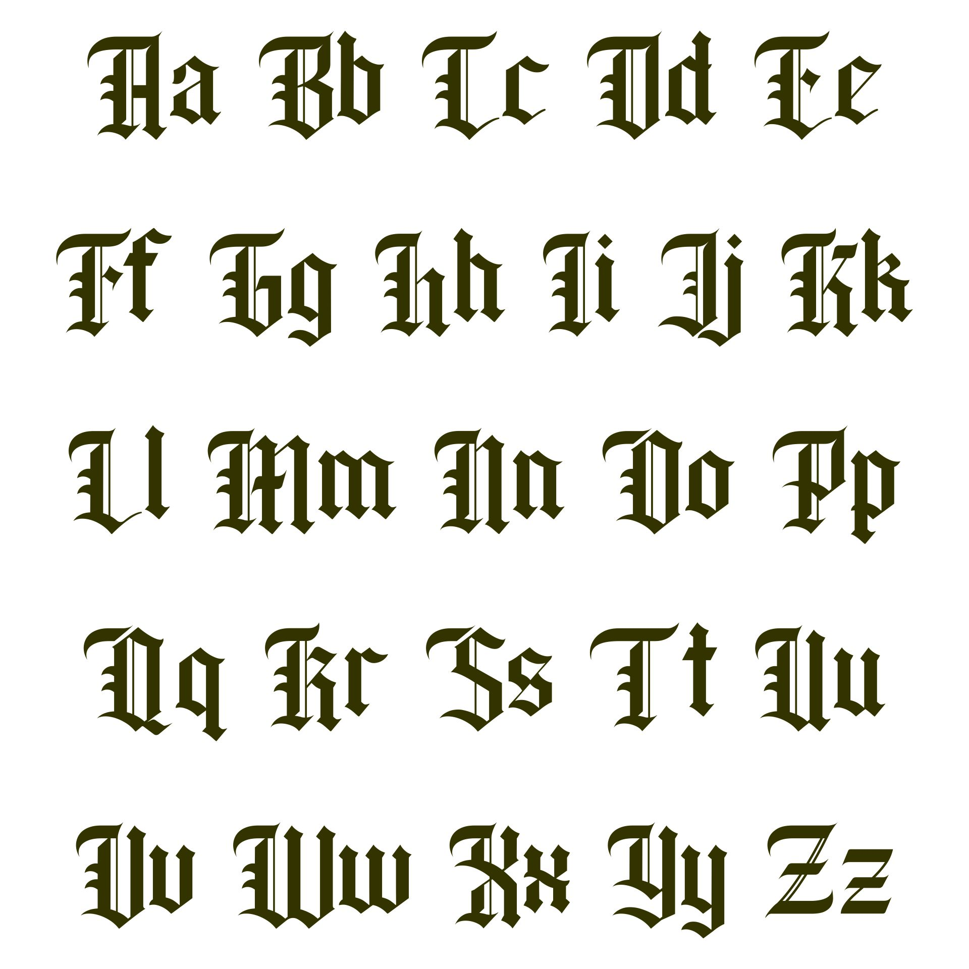 Printable Middle English Alphabet
