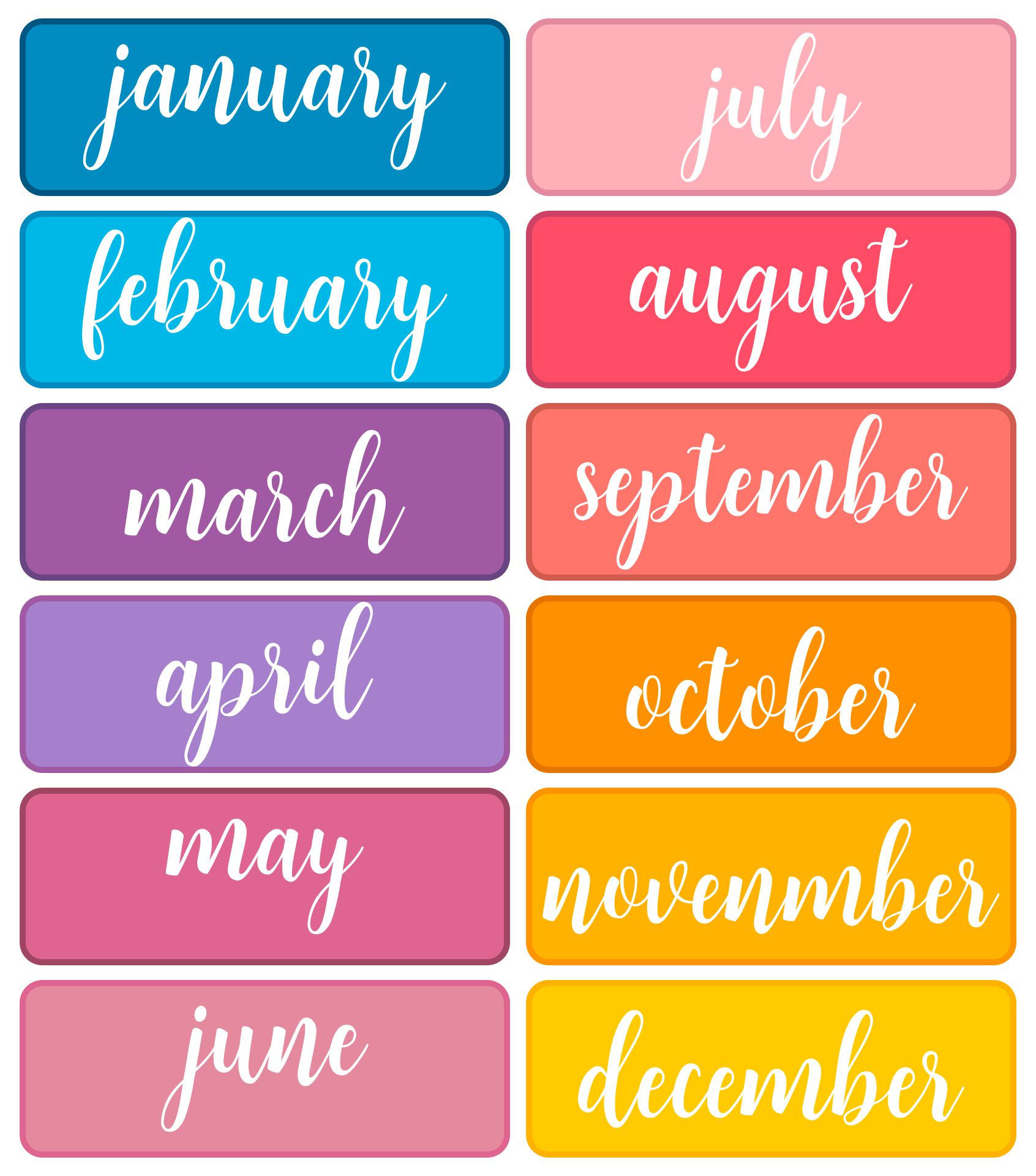 Printable Month Of The Year Stickers Labels