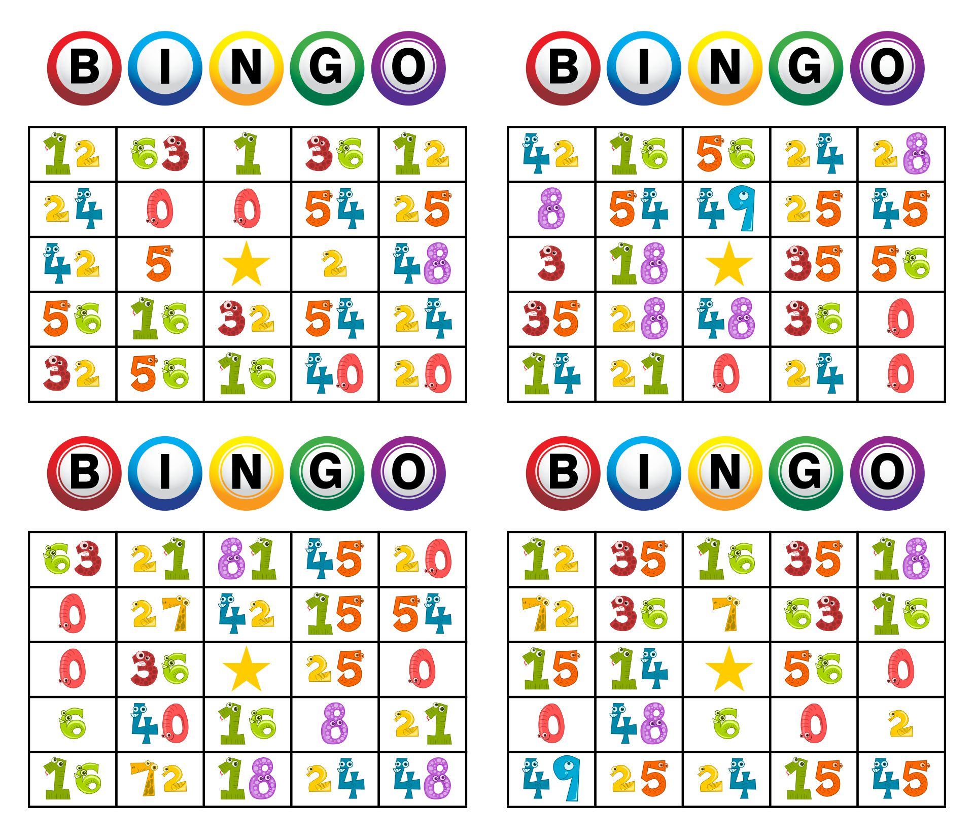 Printable Number Bingo Cards For Kindergarten