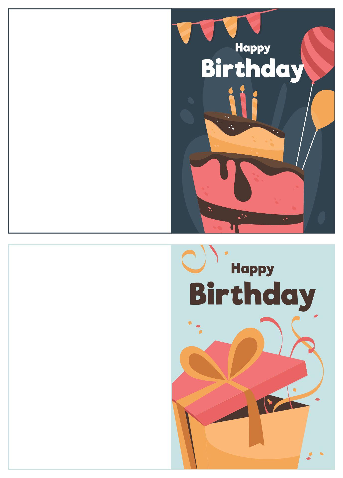 Printable Print And Fold Birthday Cards