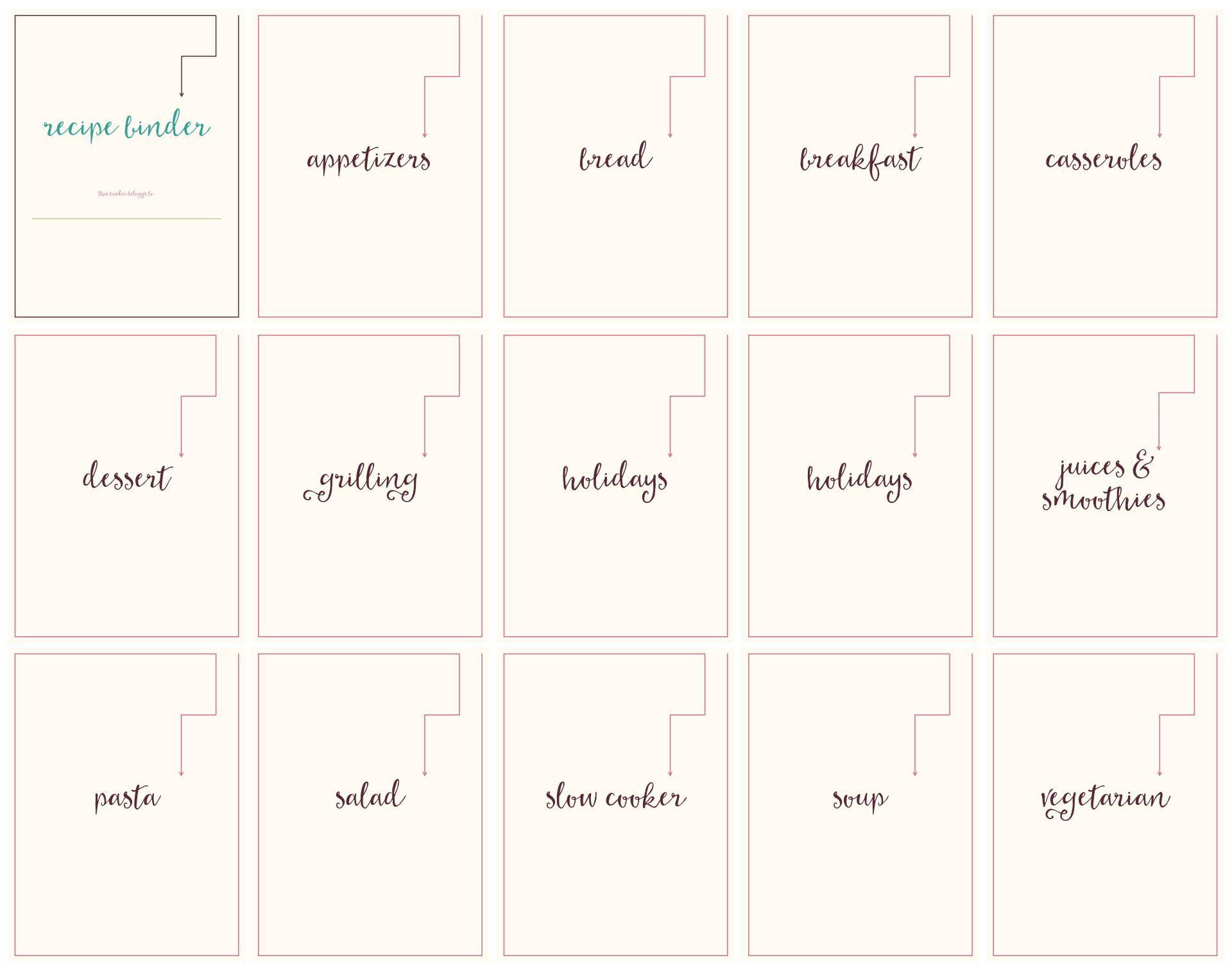 Printable Recipe Binder Pages