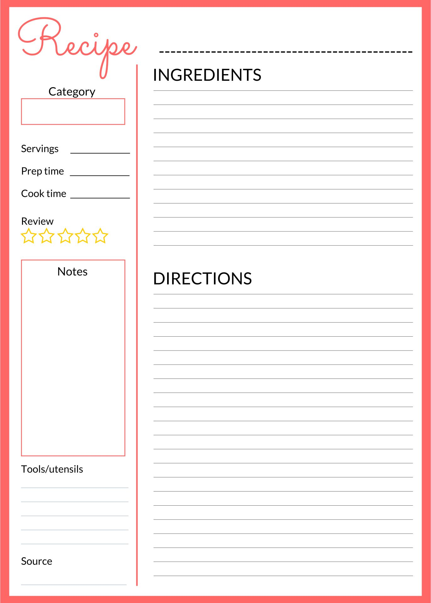 Printable Recipe Book Pages Template