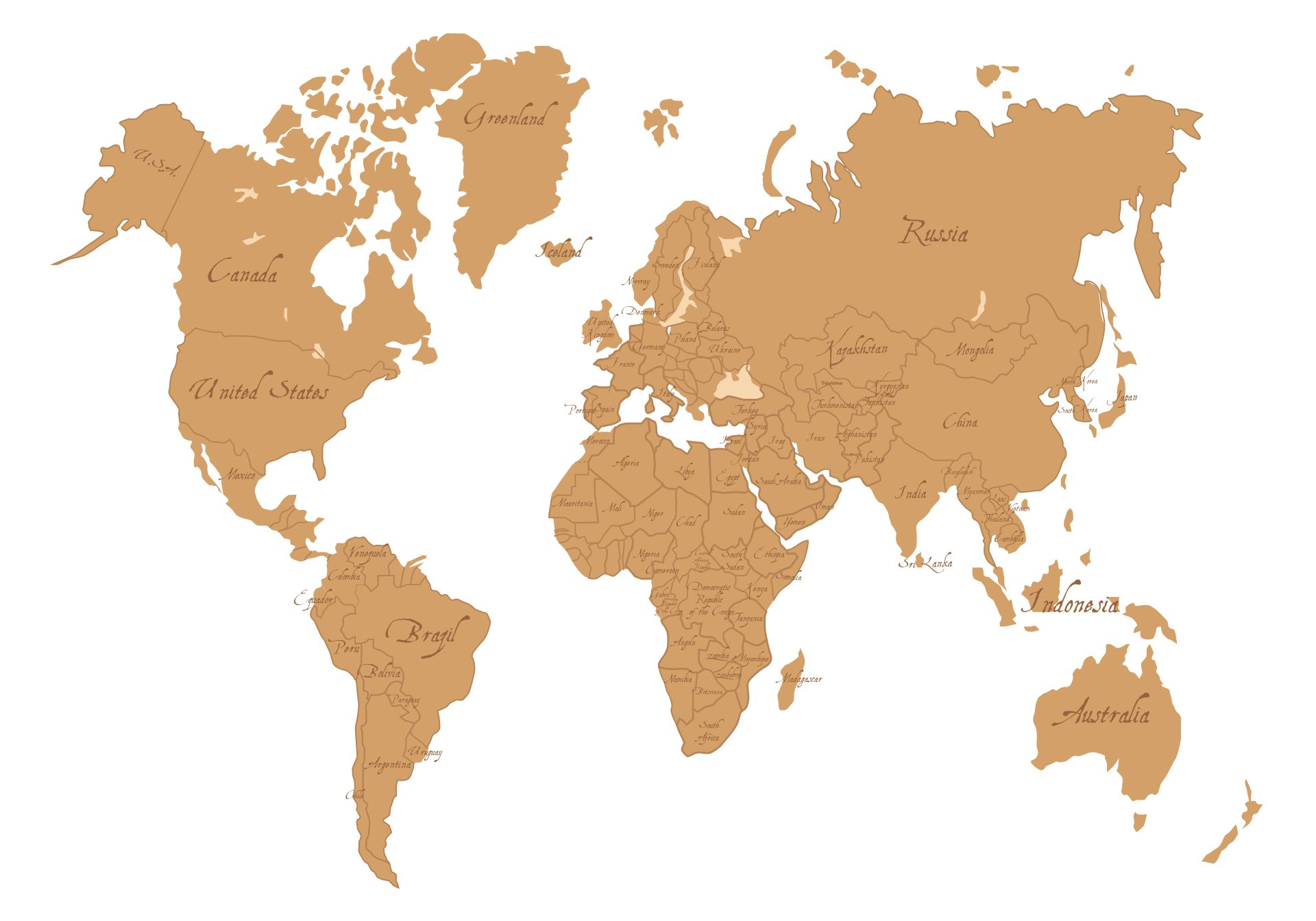 Printable Simple Map Of The World With Country Names