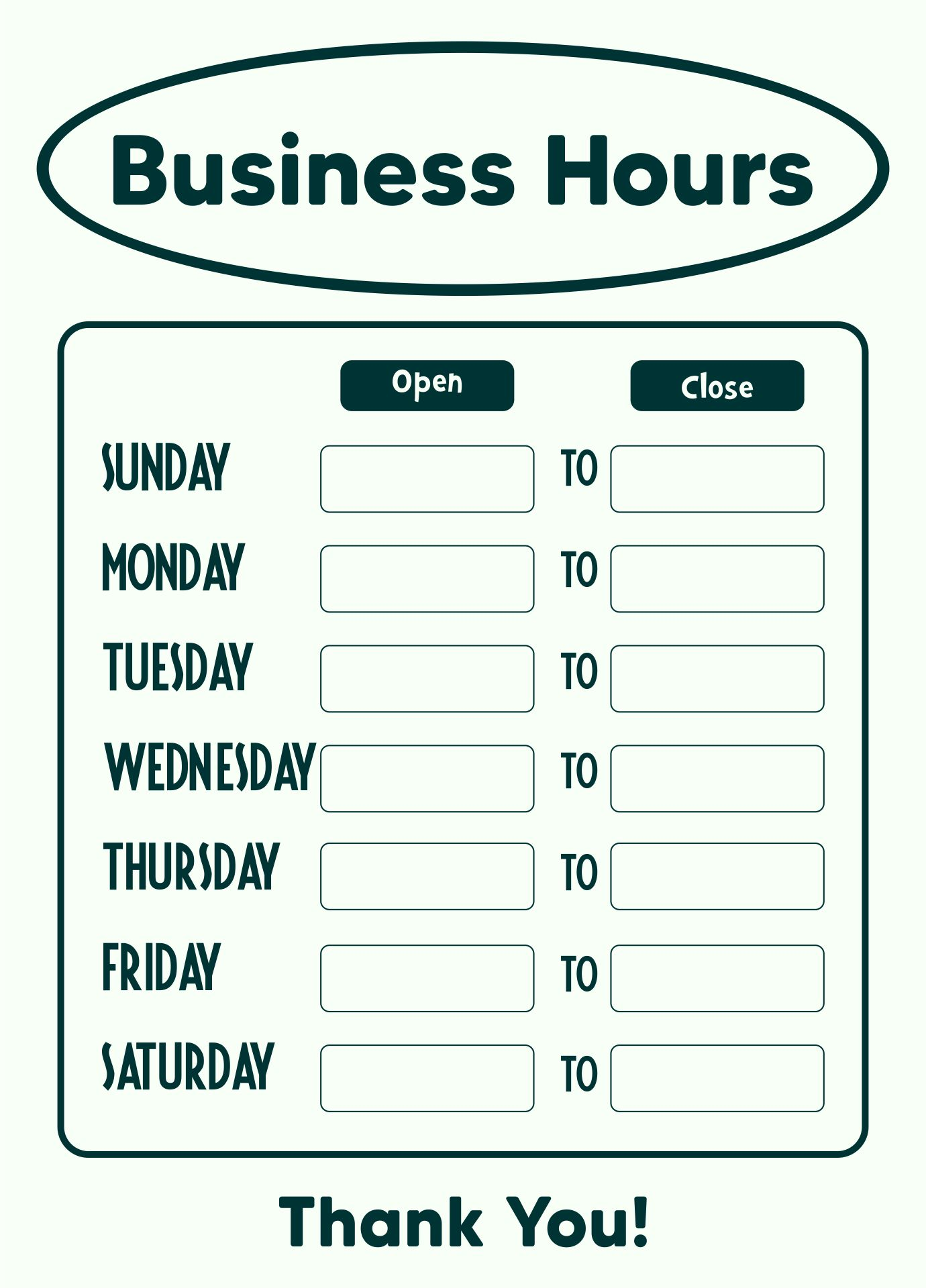 21 Best Free Printable Business Hours Sign Template - printablee.com In Hours Of Operation Template Microsoft Word