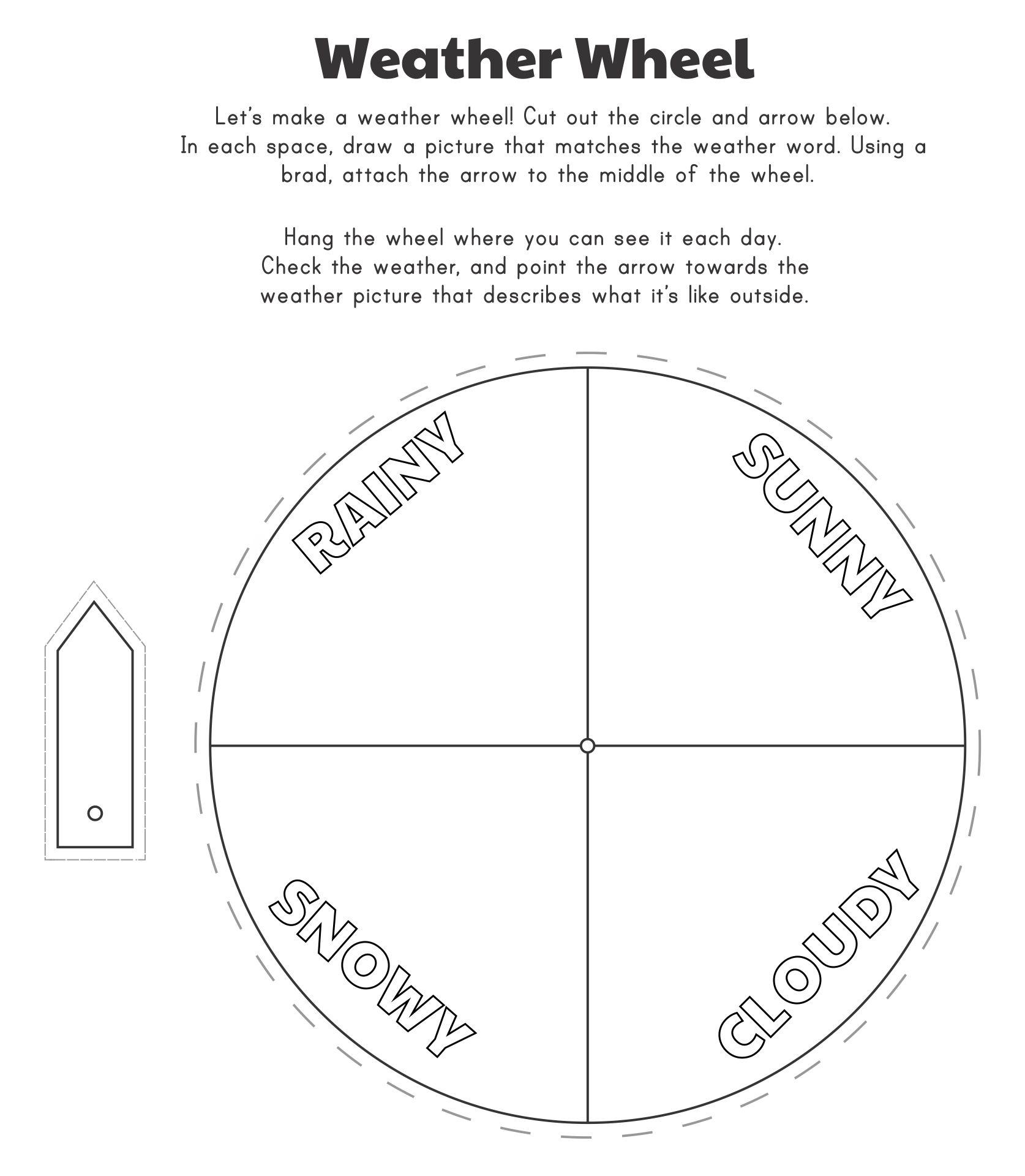 Printable Weather Wheel For Preschoolers