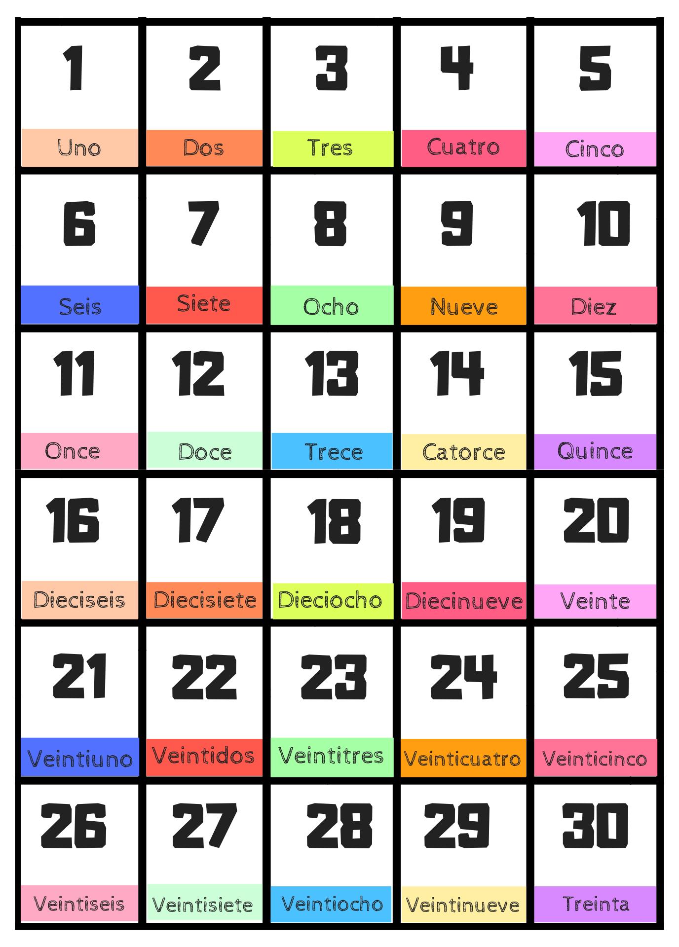 Spanish Number Flashcards 1-30