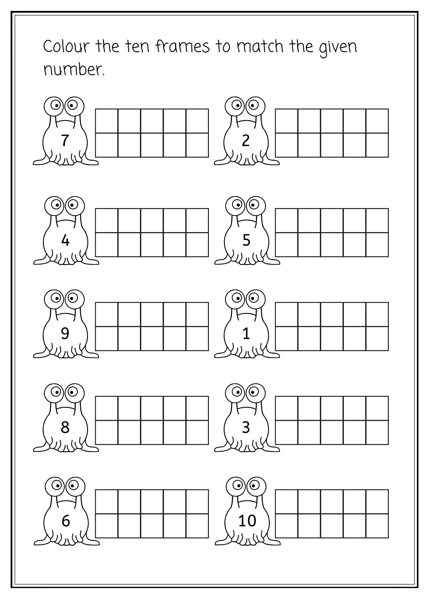 Ten Frame Template For Kindergarten