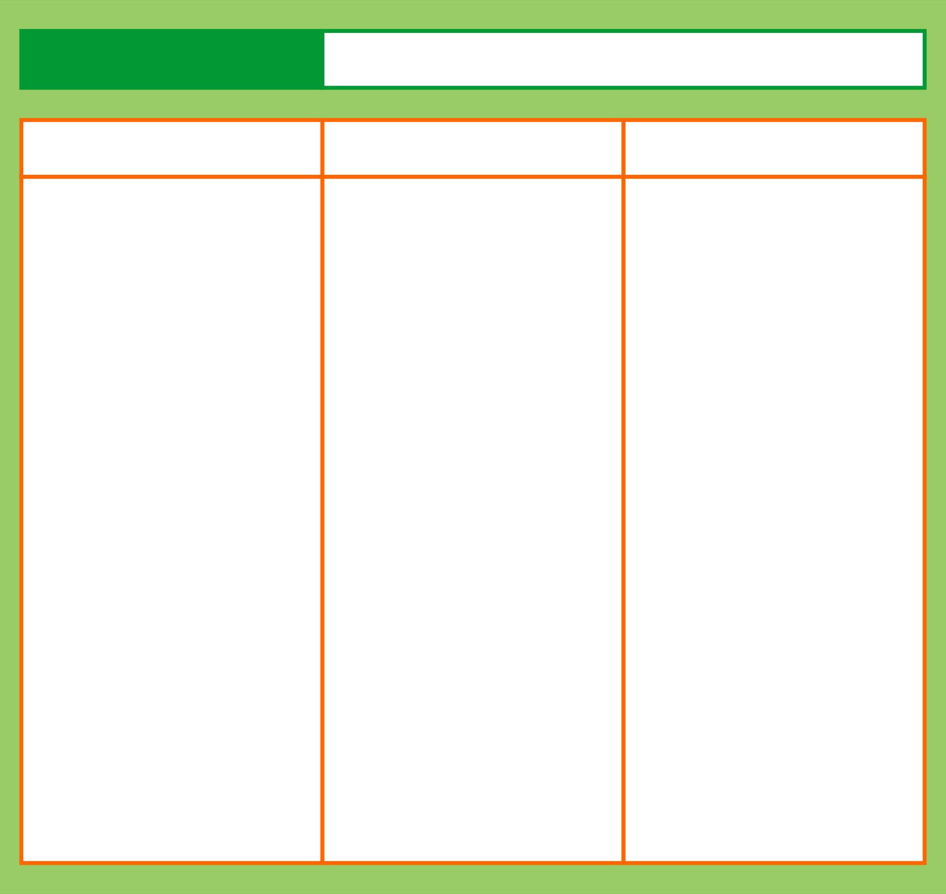 Three Column Graphic Organizer