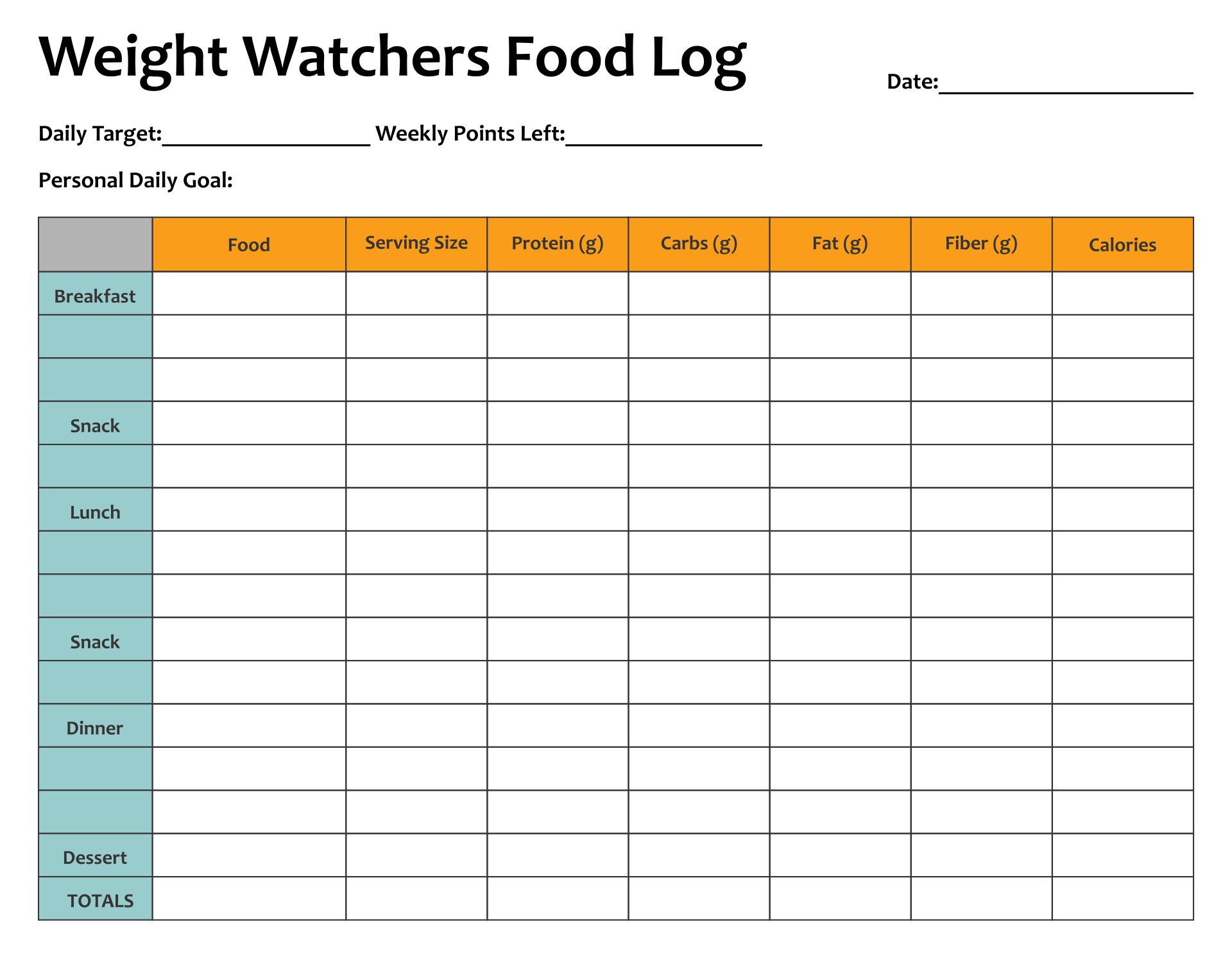 Weight Watchers Food Tracker Printable