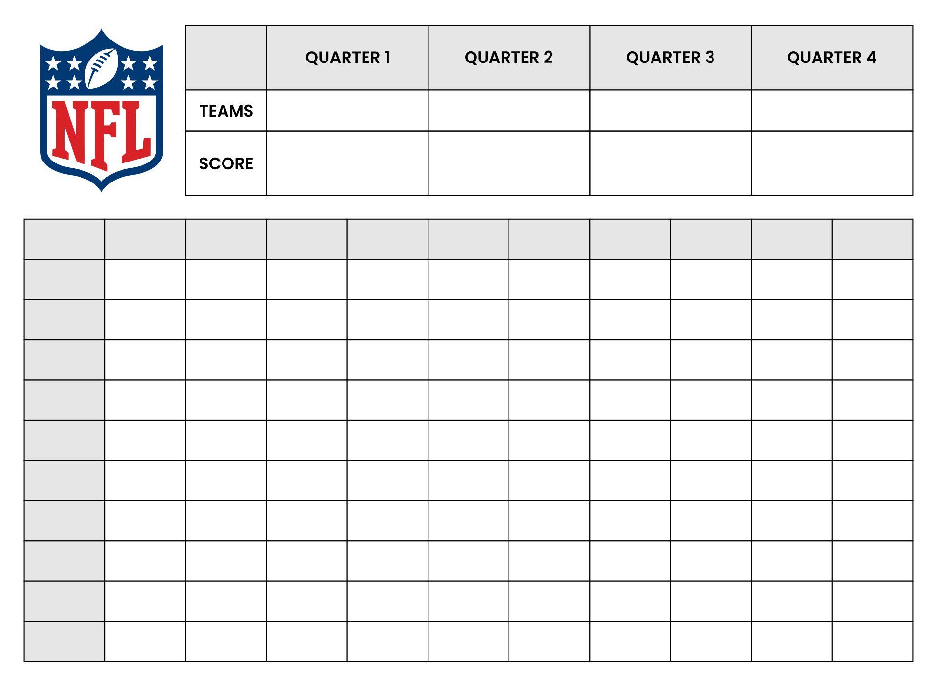 Blank Football Squares Super Bowl