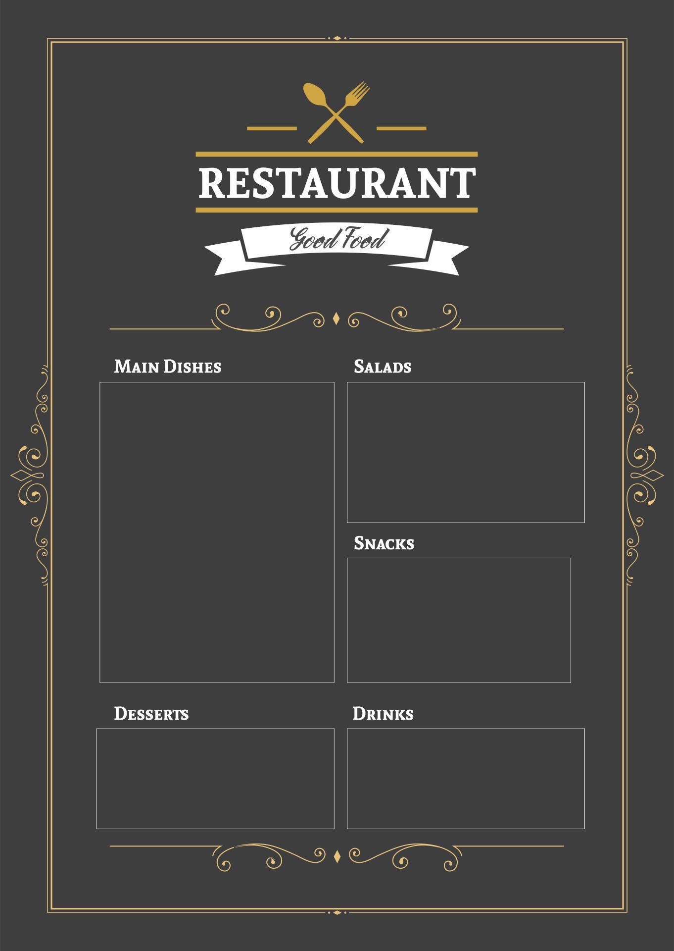Blank Restaurant Menu Template Free Download