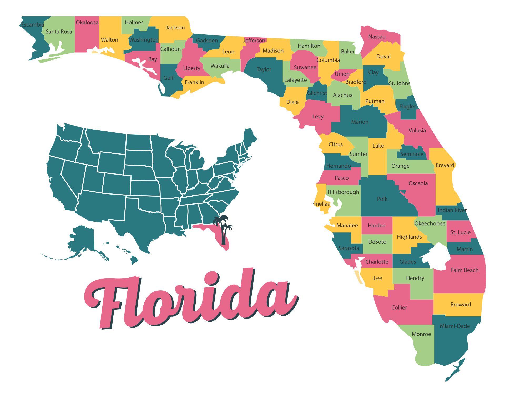 Detailed Map Of Florida Printable