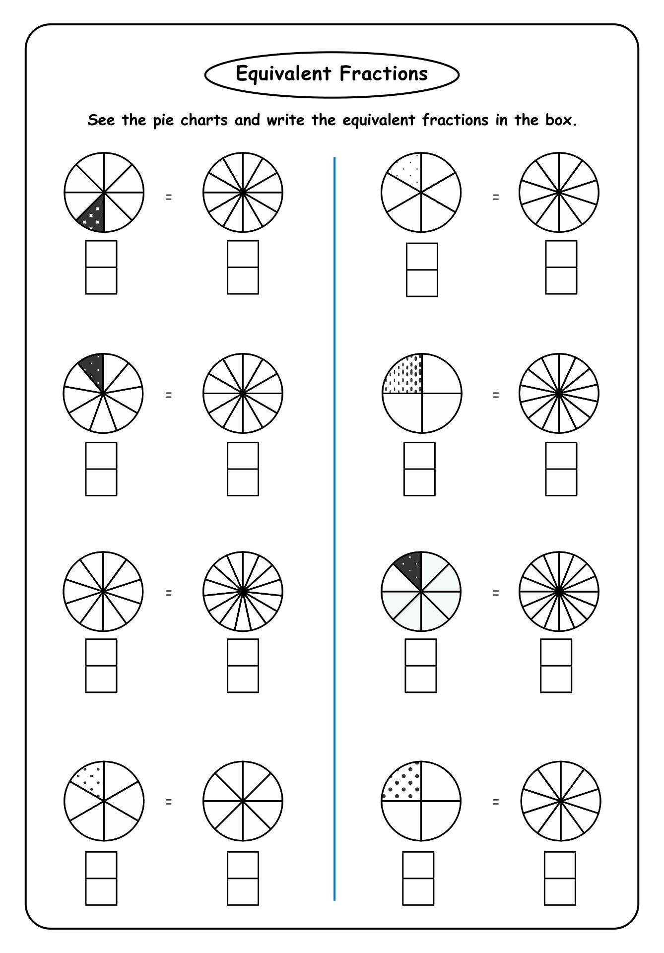 Equivalent Fractions Pie Chart Worksheet
