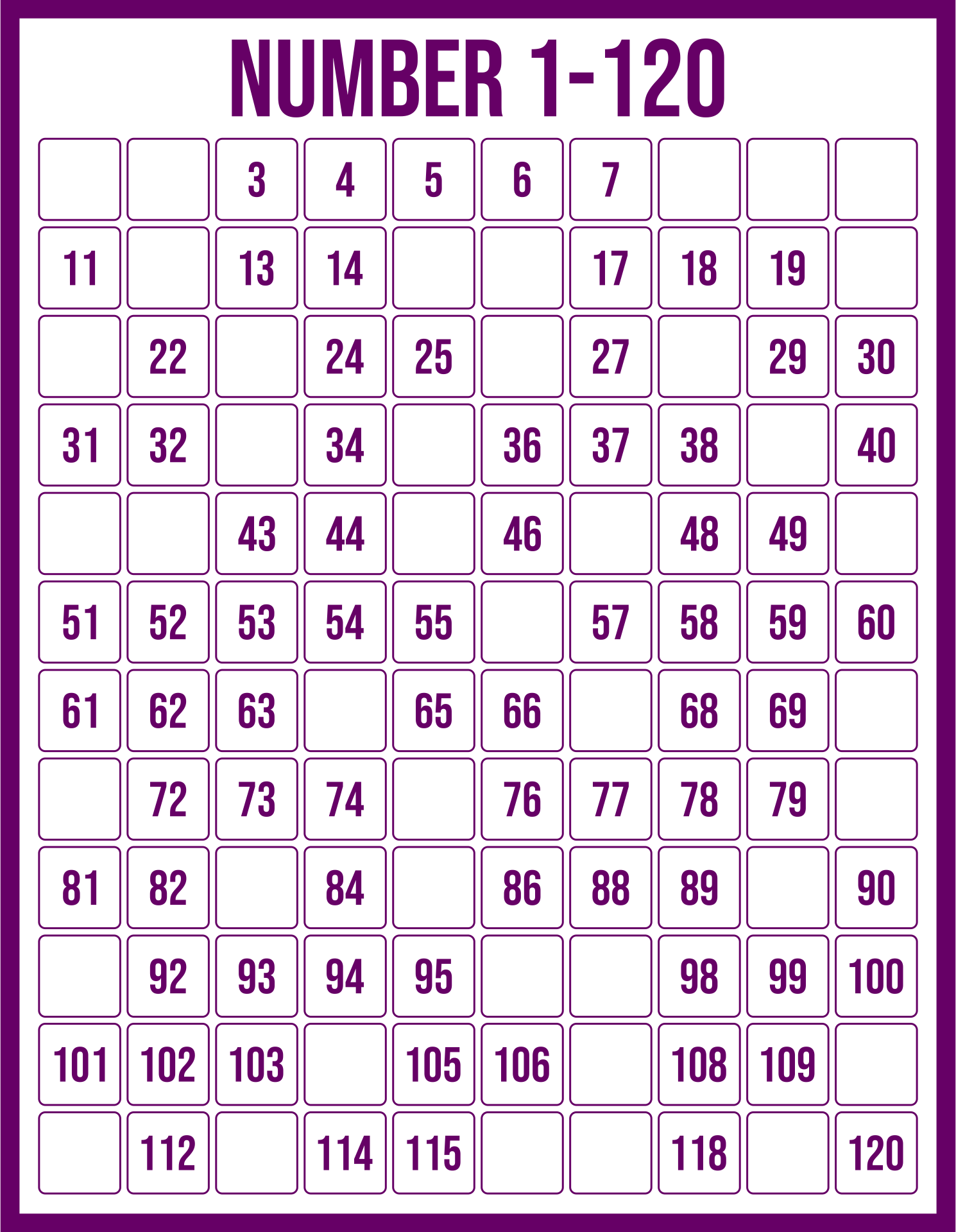 Free Printable 120 Chart With Missing Numbers