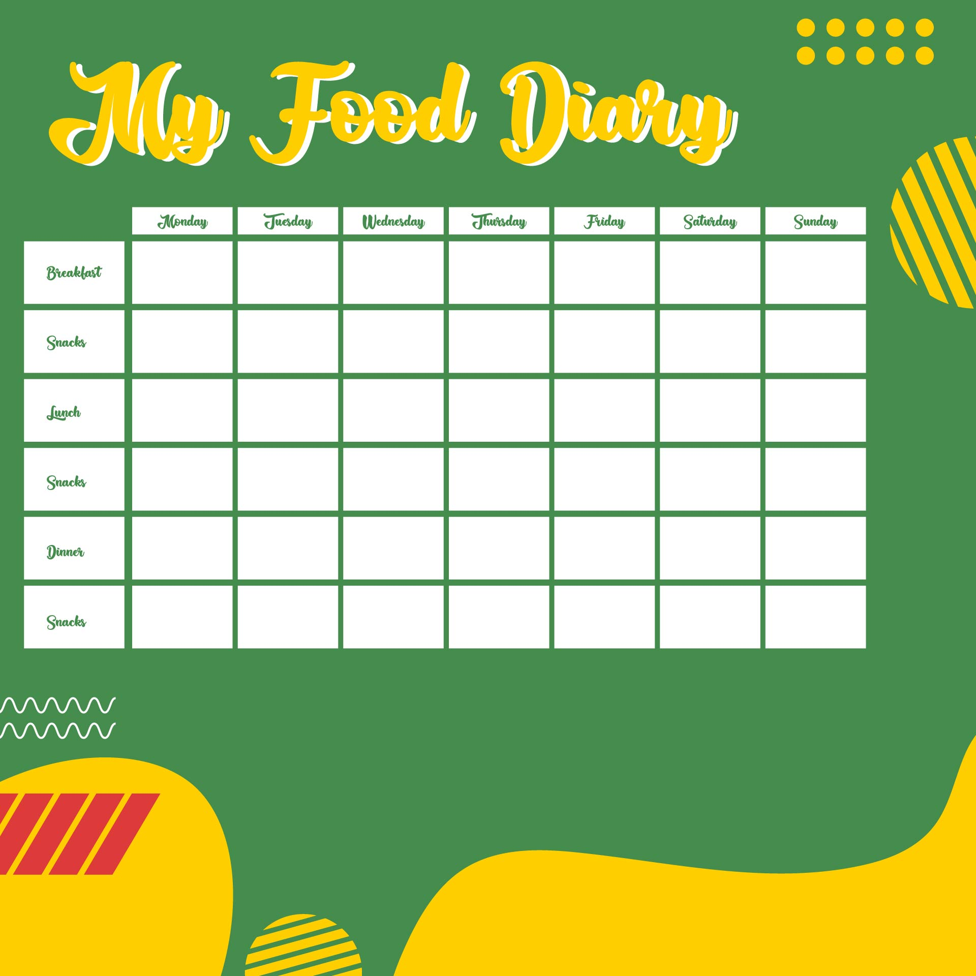 Free Printable Food Journal For Weight Loss Pdf