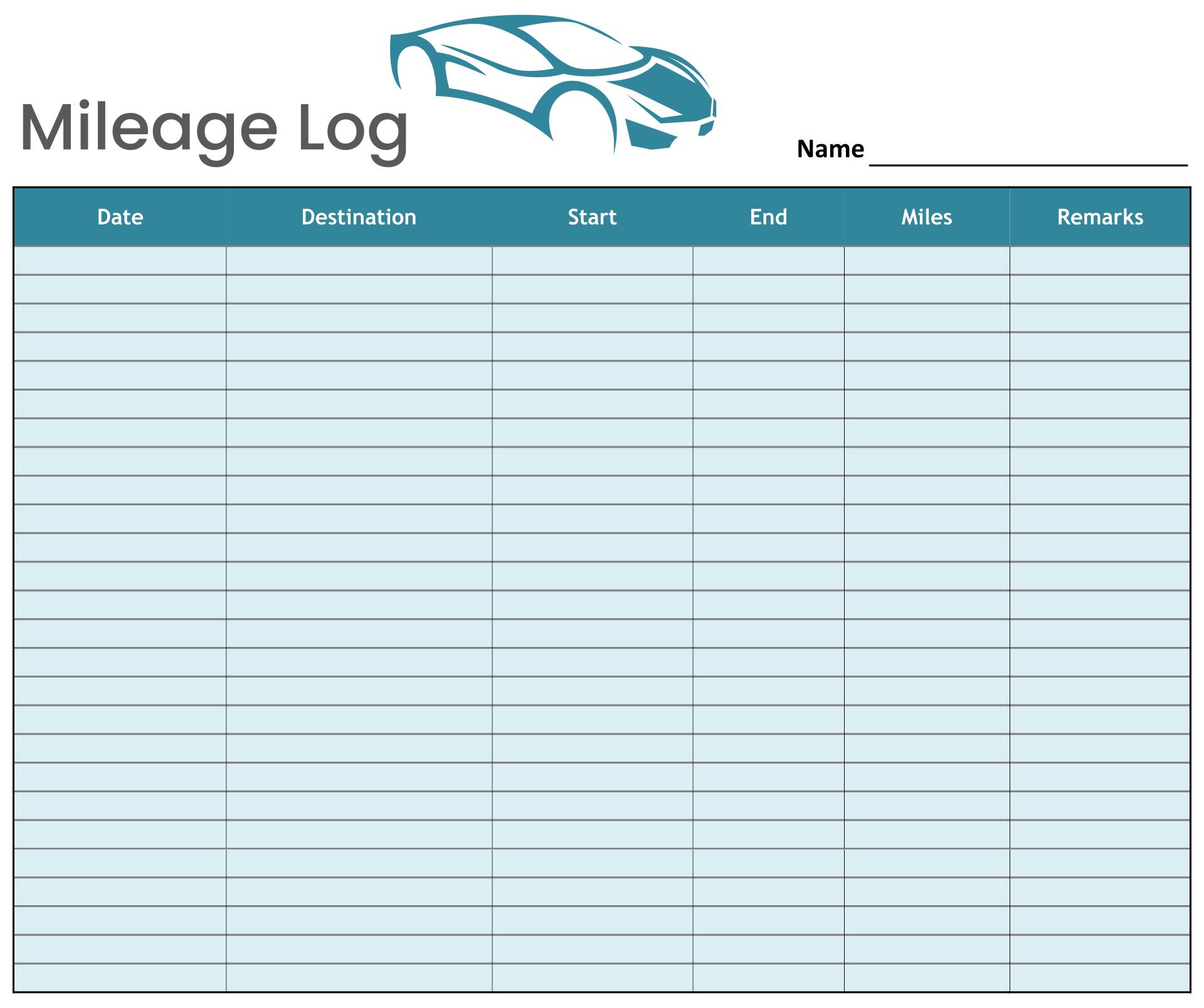 Free Printable Mileage Log Form