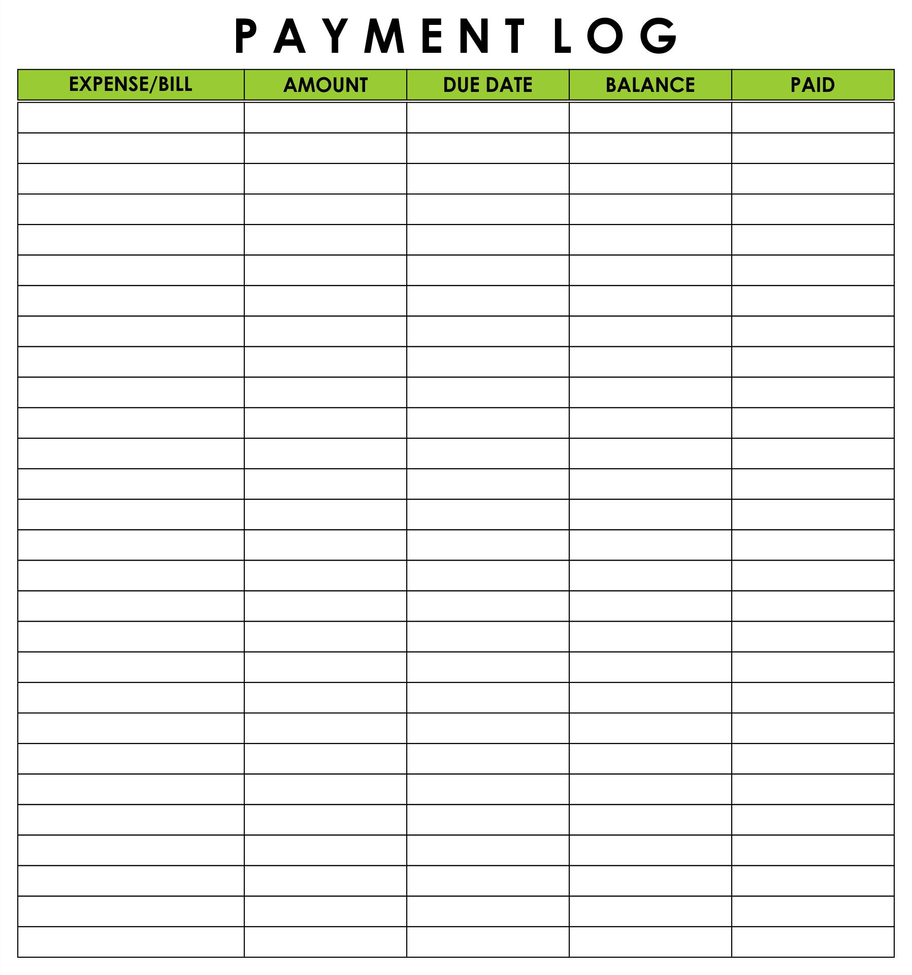 Free Printable Payment Log