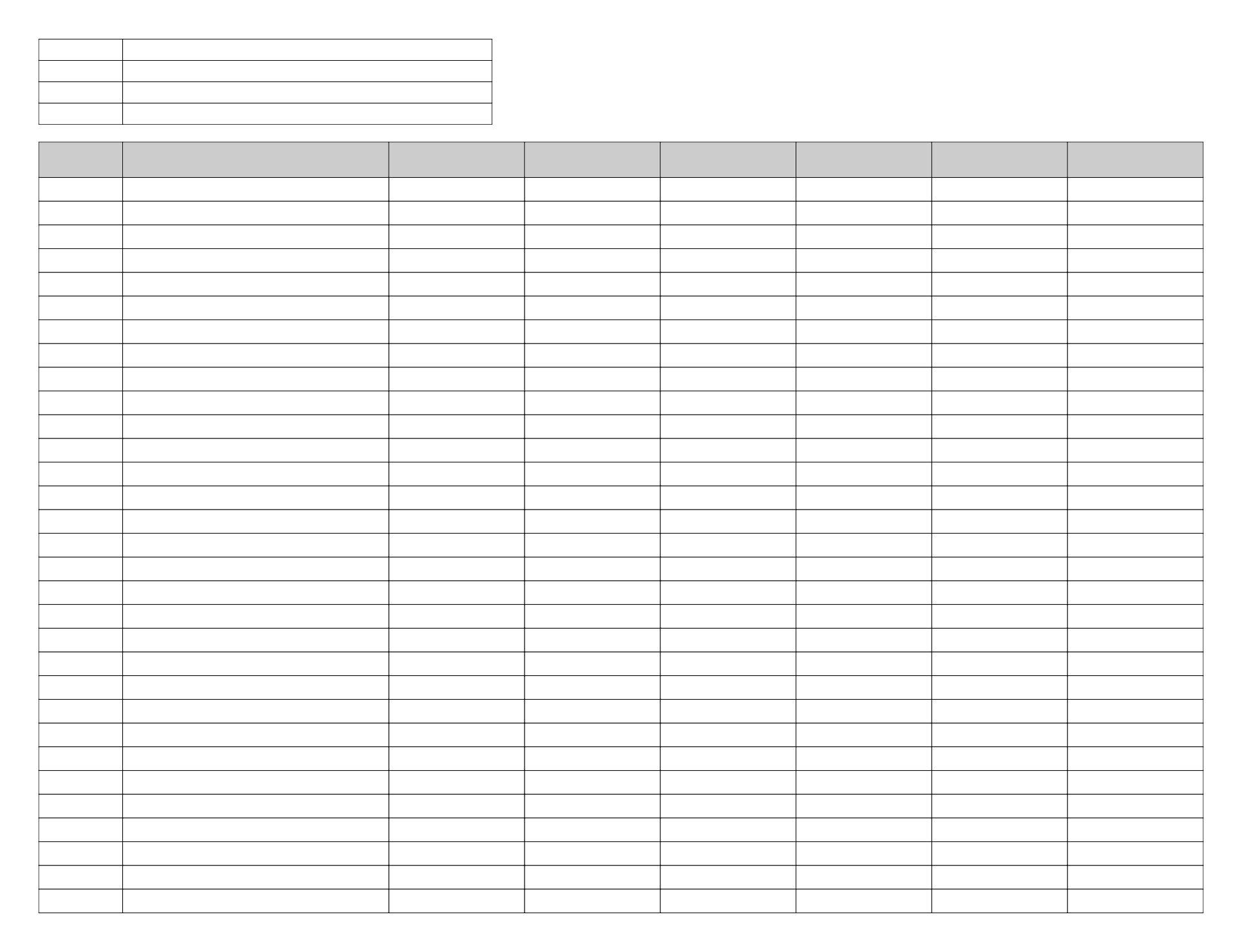 Free Printable Spreadsheet Templates