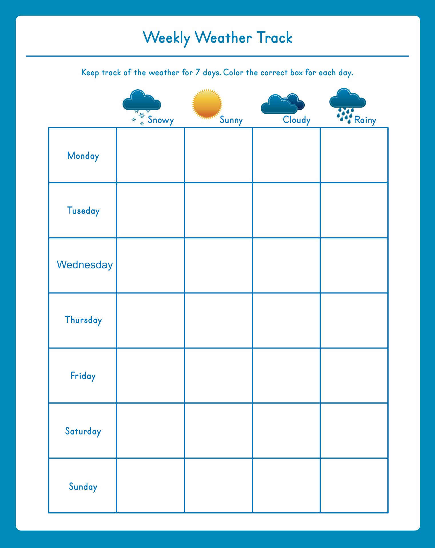 Free Printable Weather Chart For Kindergarten