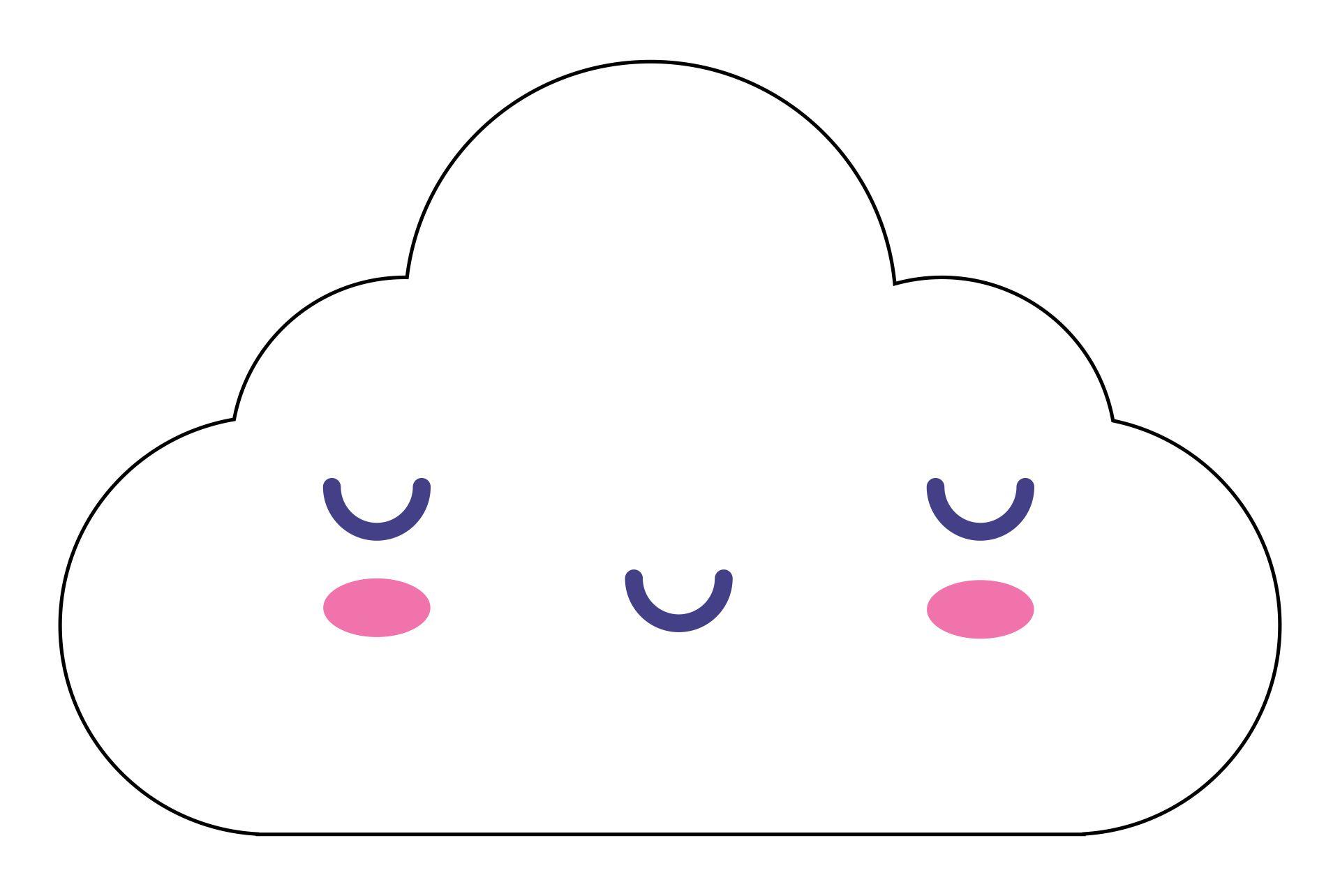 Large Printable Cute Cloud Template