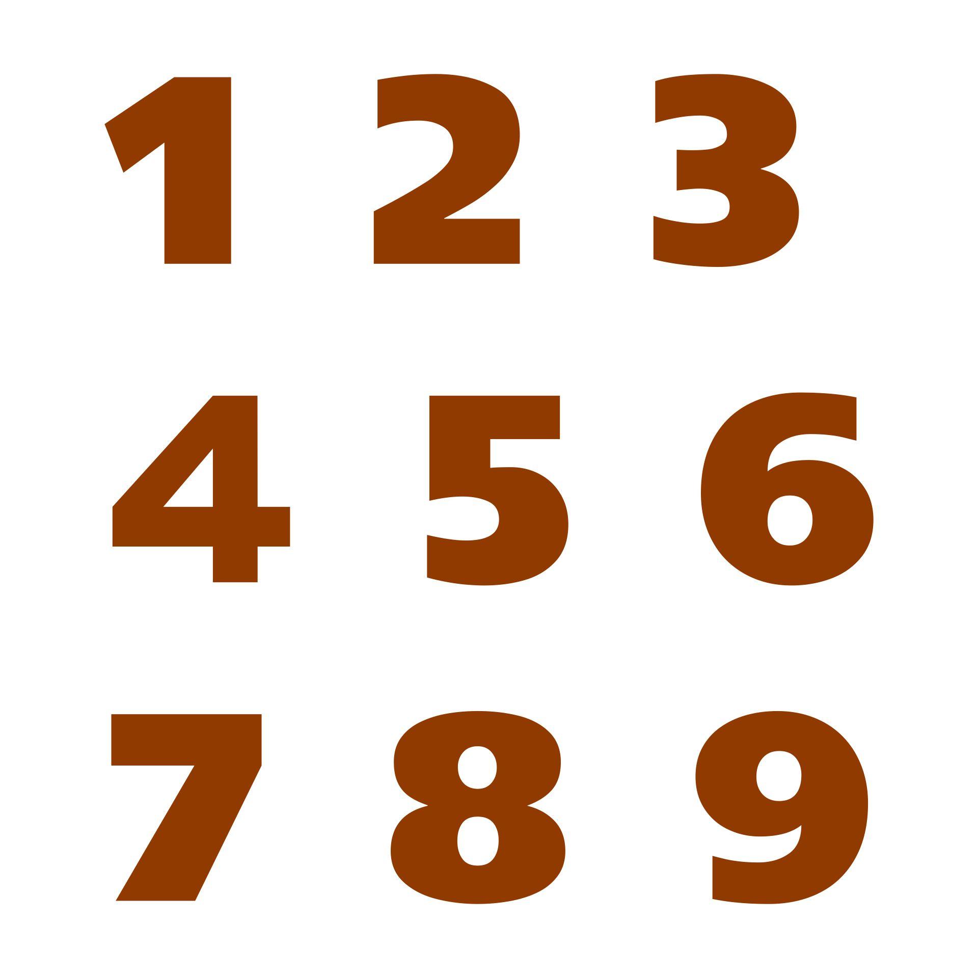 Large Printable Numbers 1 9