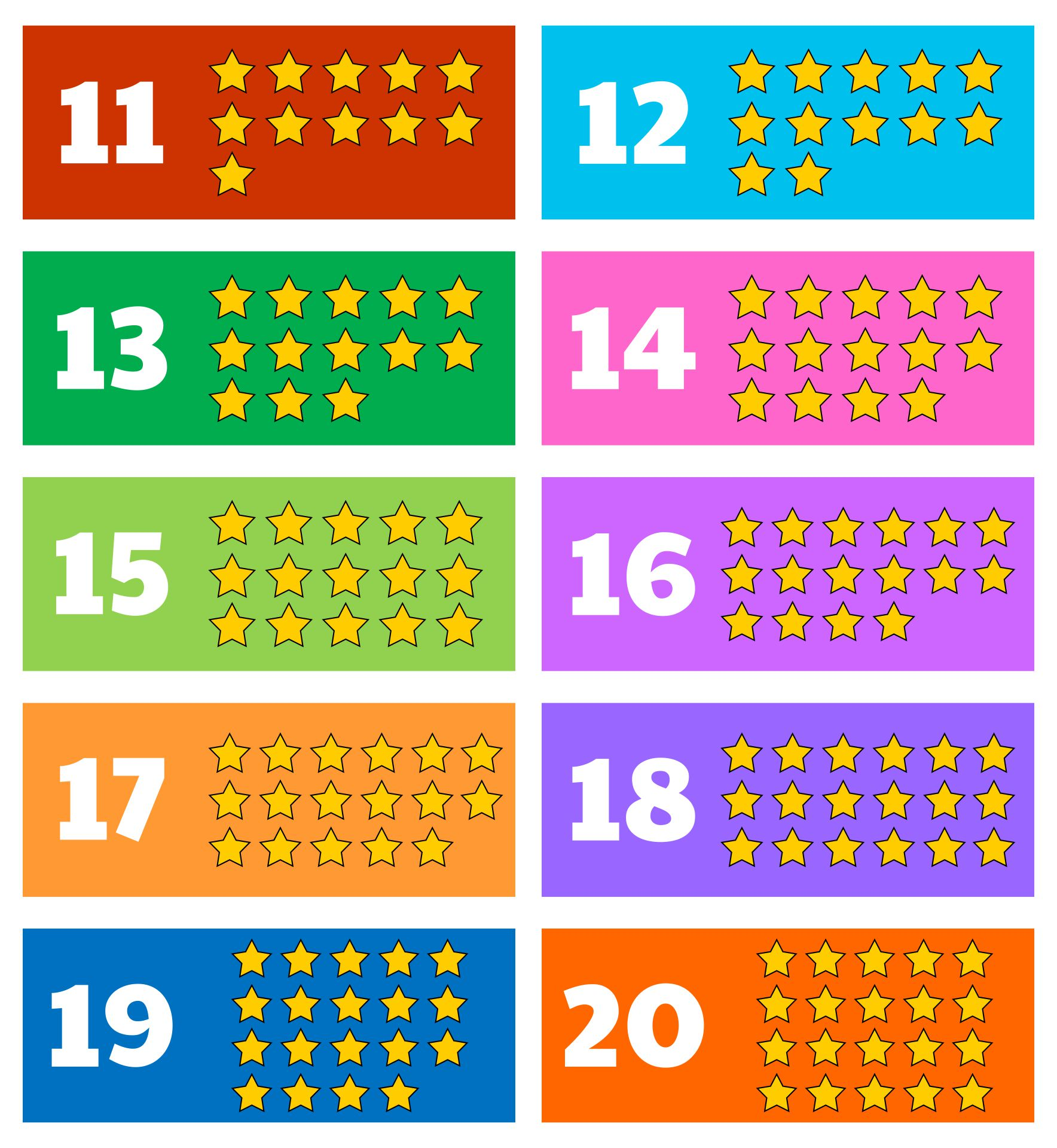 Large Printable Numbers 11 20 With Pictures