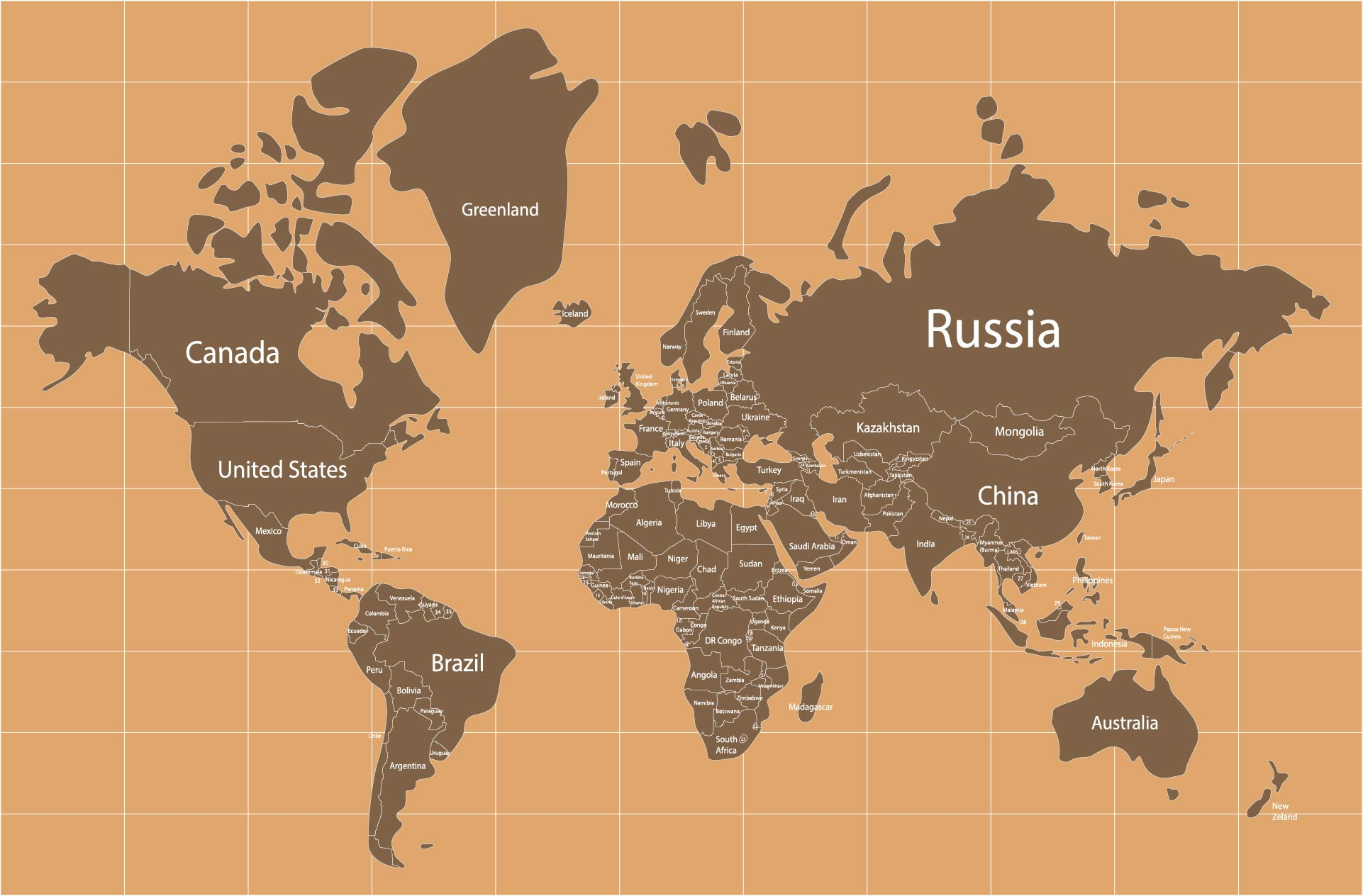 Large Printable World Map With Country Names