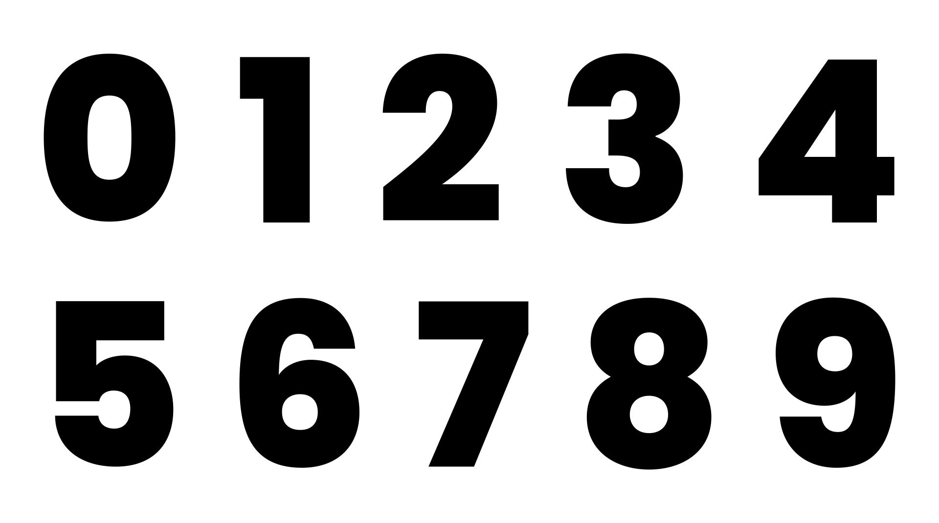 Large Solid Printable Numbers