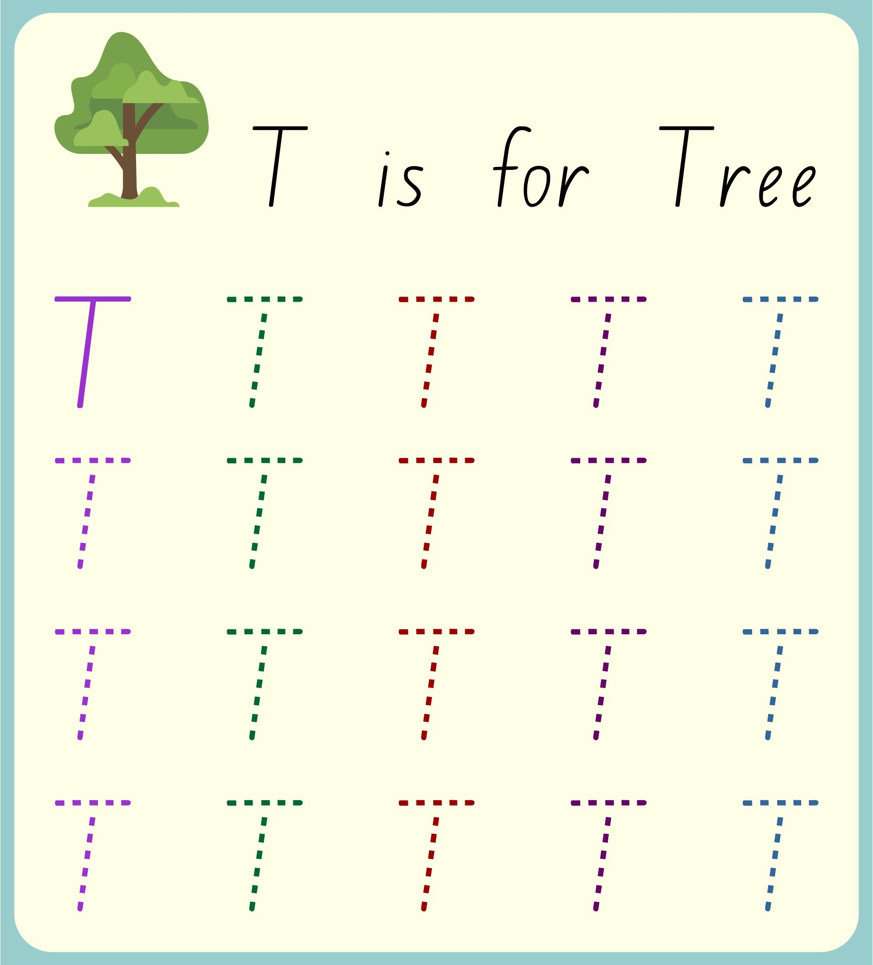 Letter T Worksheets For Toddlers