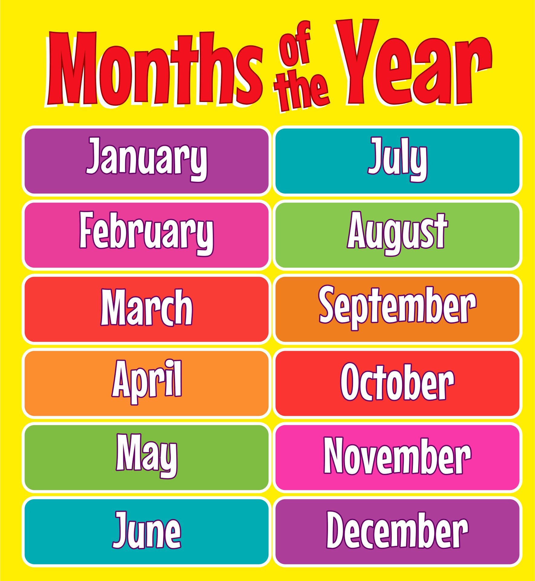 Months Of The Year Chart For Toddlers
