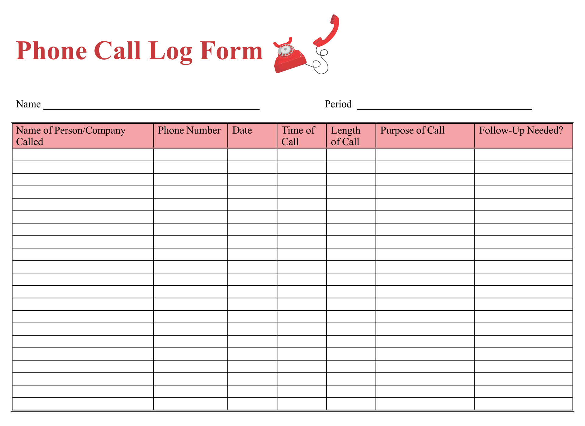Phone Message Log Template Excel
