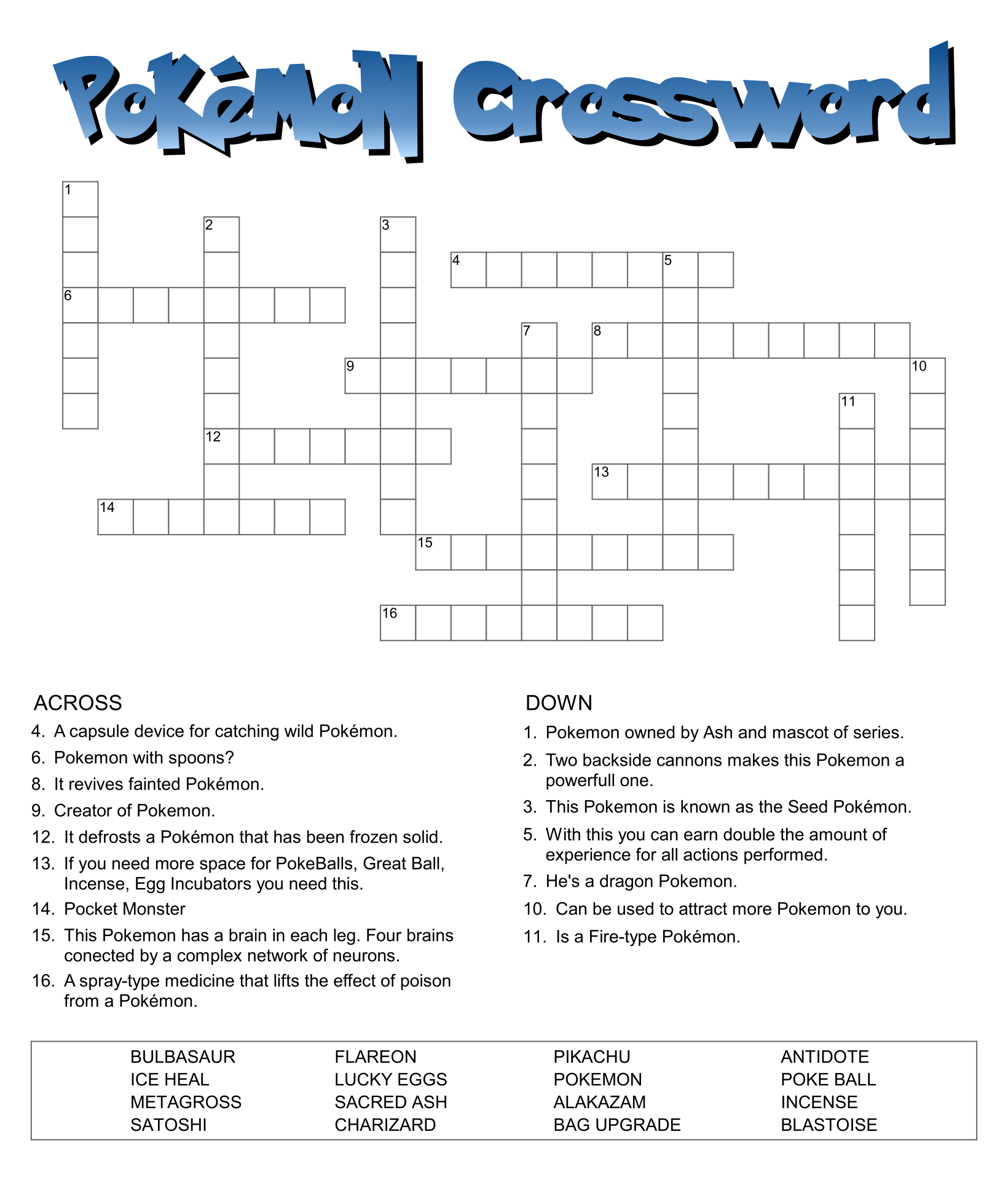 Pokemon Crossword Puzzles Printable