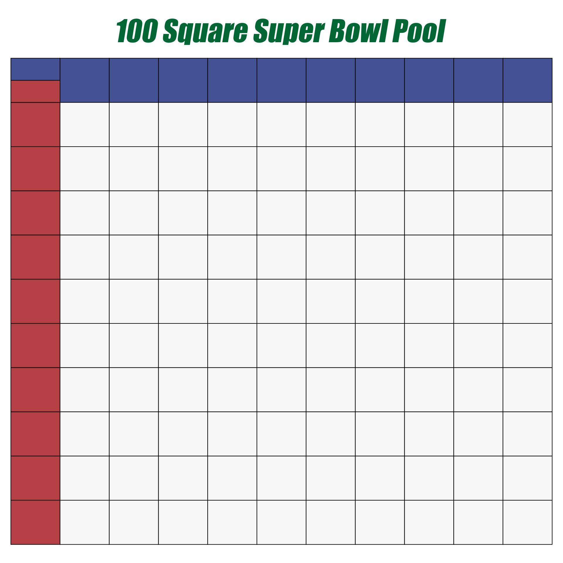 Printable 100 Square Super Bowl Pool Template