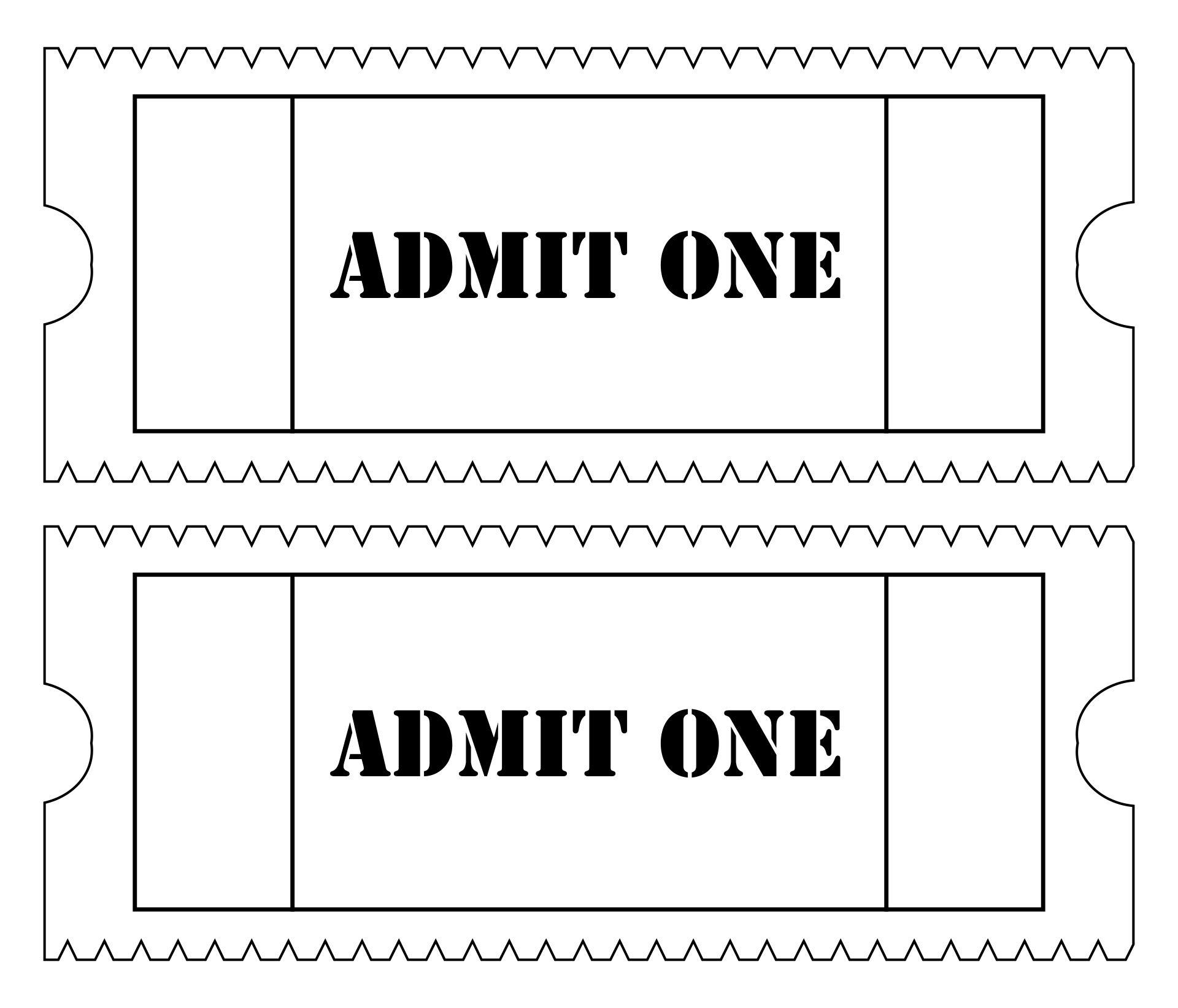 10 Best Free Printable Admit One Ticket Templates Printablee Com
