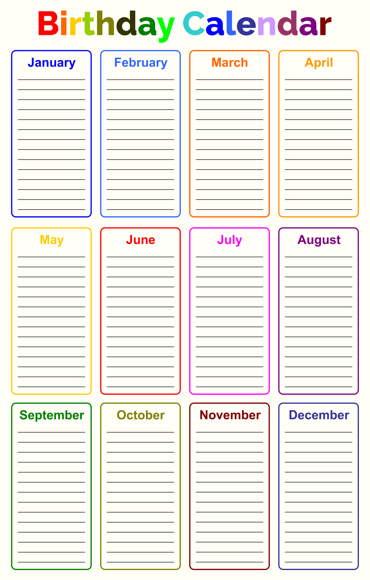Printable Birthday Chart Template